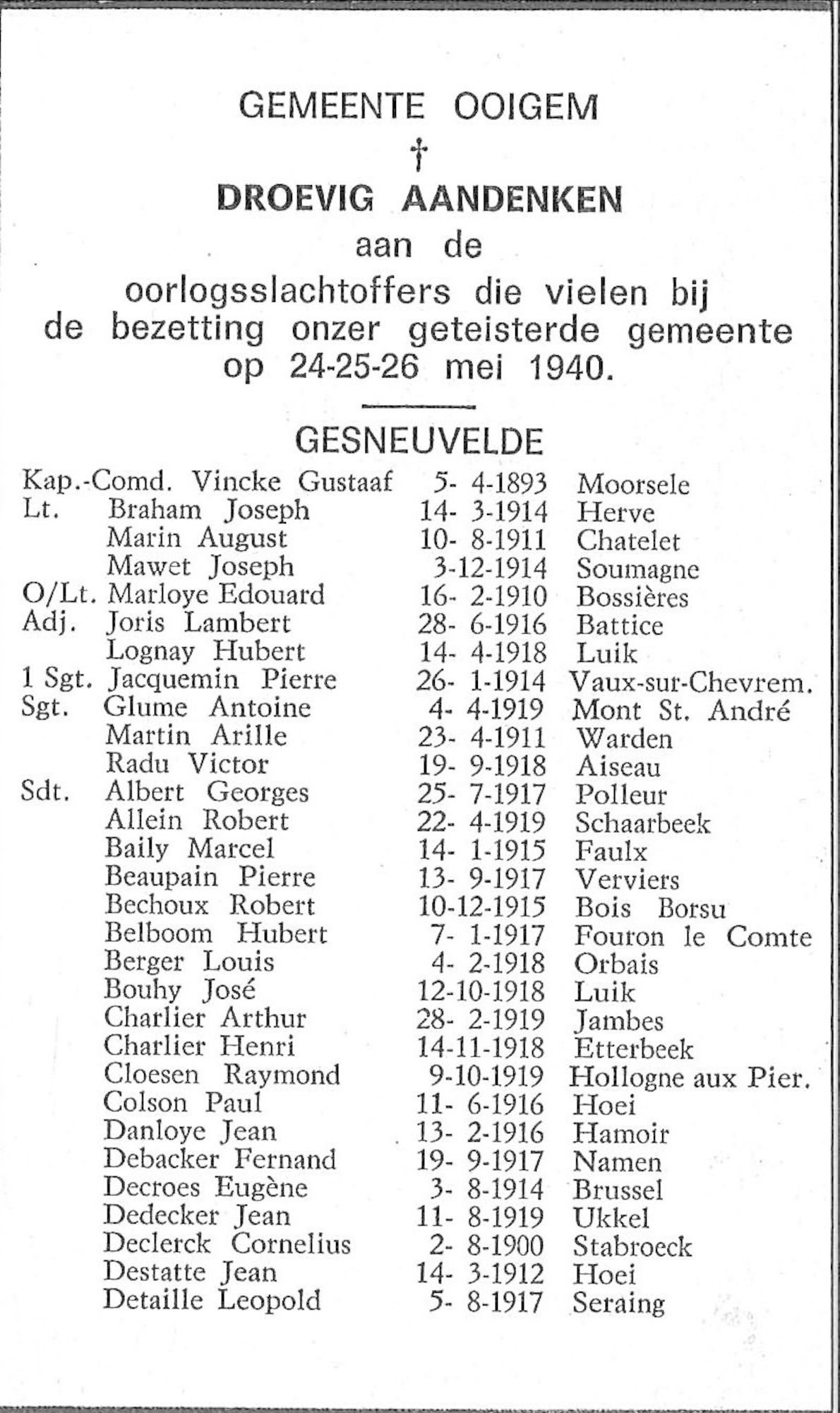 Groepsbidprentje gemeente Ooigem
