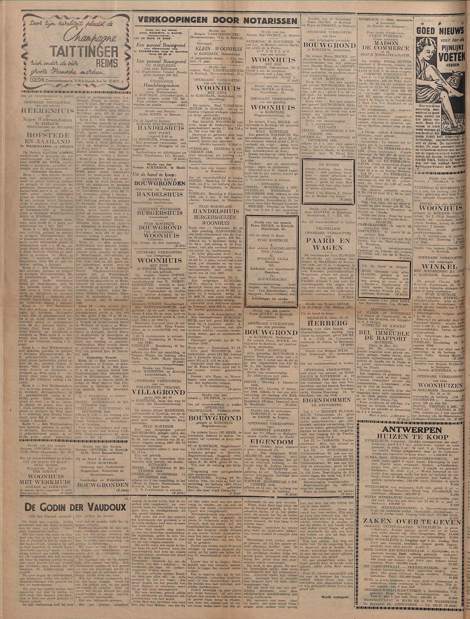 Kortrijksch Handelsblad 22 november 1946 Nr94 p4