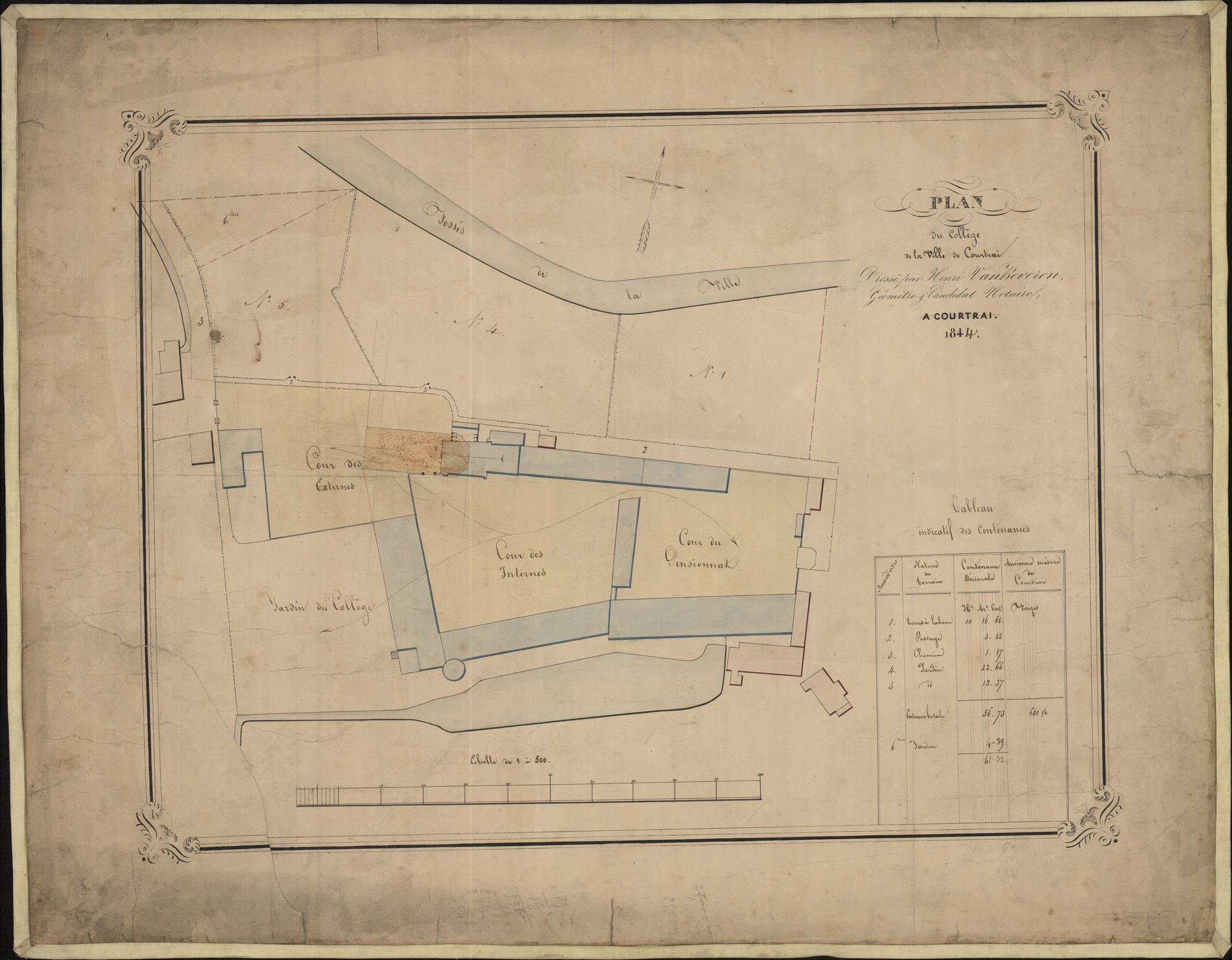 Plattegrond  van het Sint-Amandscollege te Kortrijk, 1844