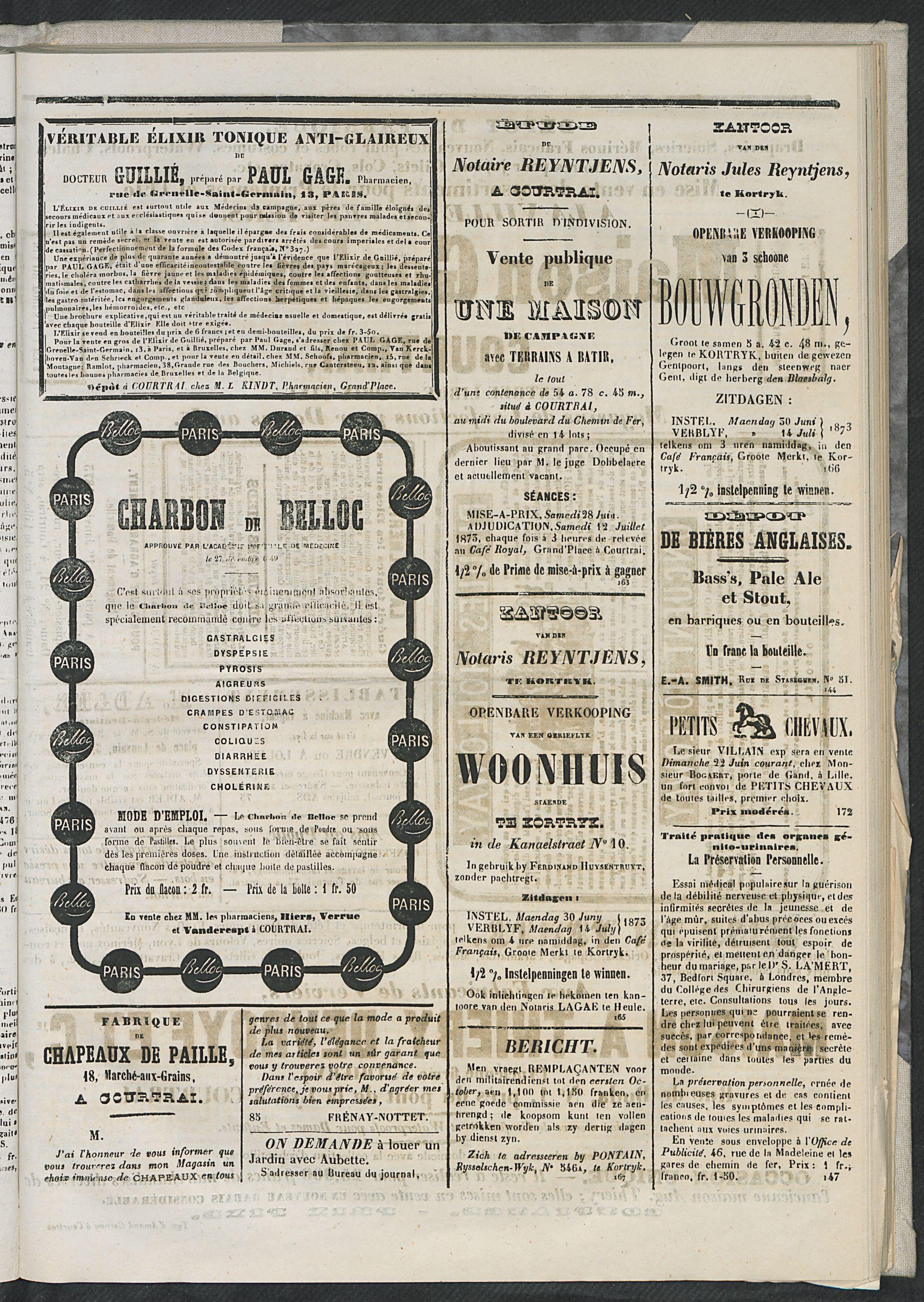 L'echo De Courtrai 1873-06-22 p5