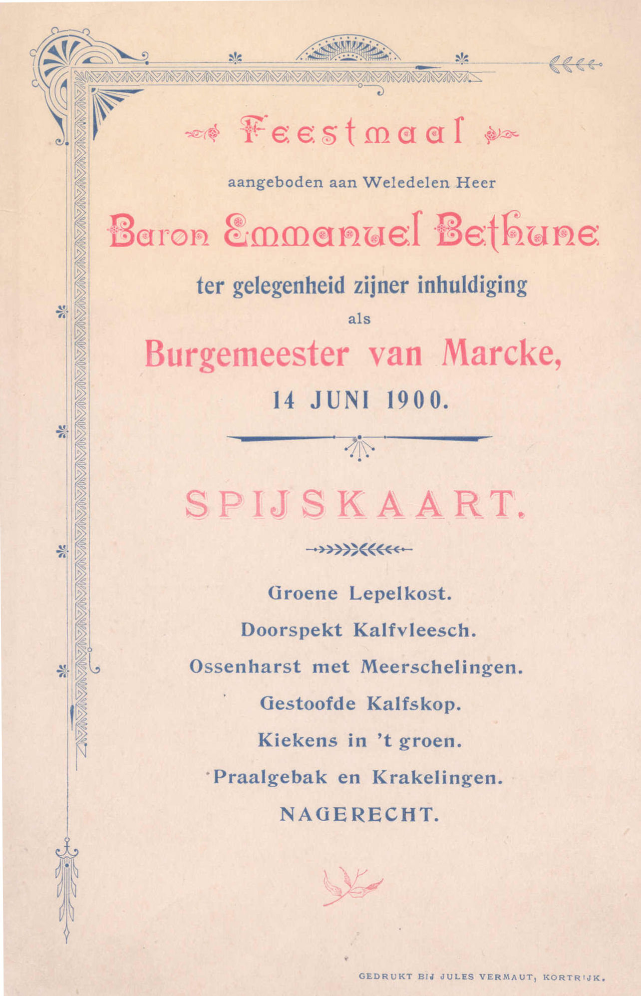 Feestmaal inhuldiging Emmanuel de Bethune 1900