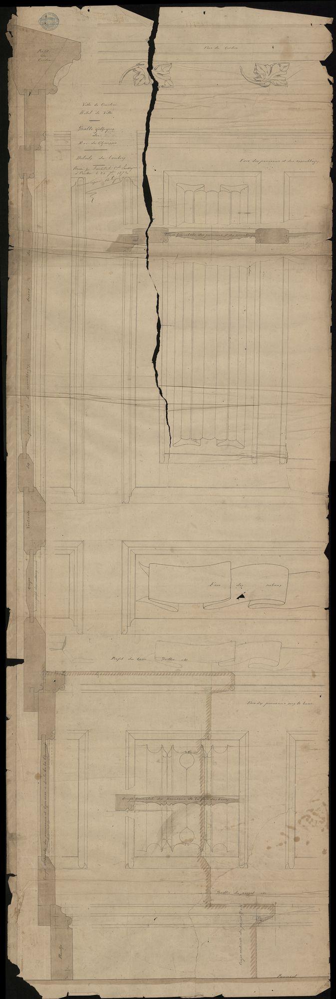 Plattegronden i.v.m. de binneninrichting van het stadhuis te Kortrijk, o.a. de gotische zaal, 1872-1875