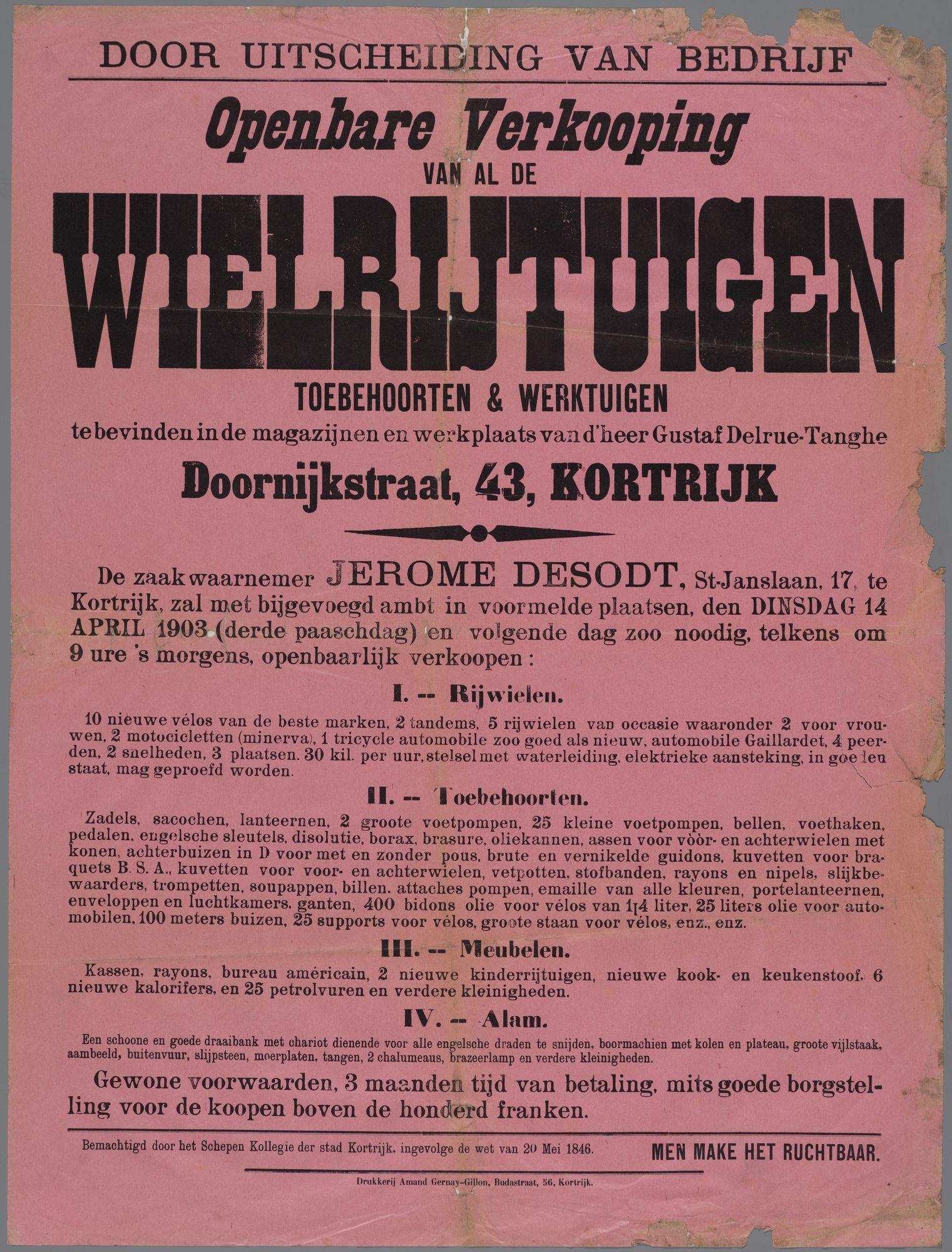 Verkoop van wielrijtuigen en toebehoren 1903