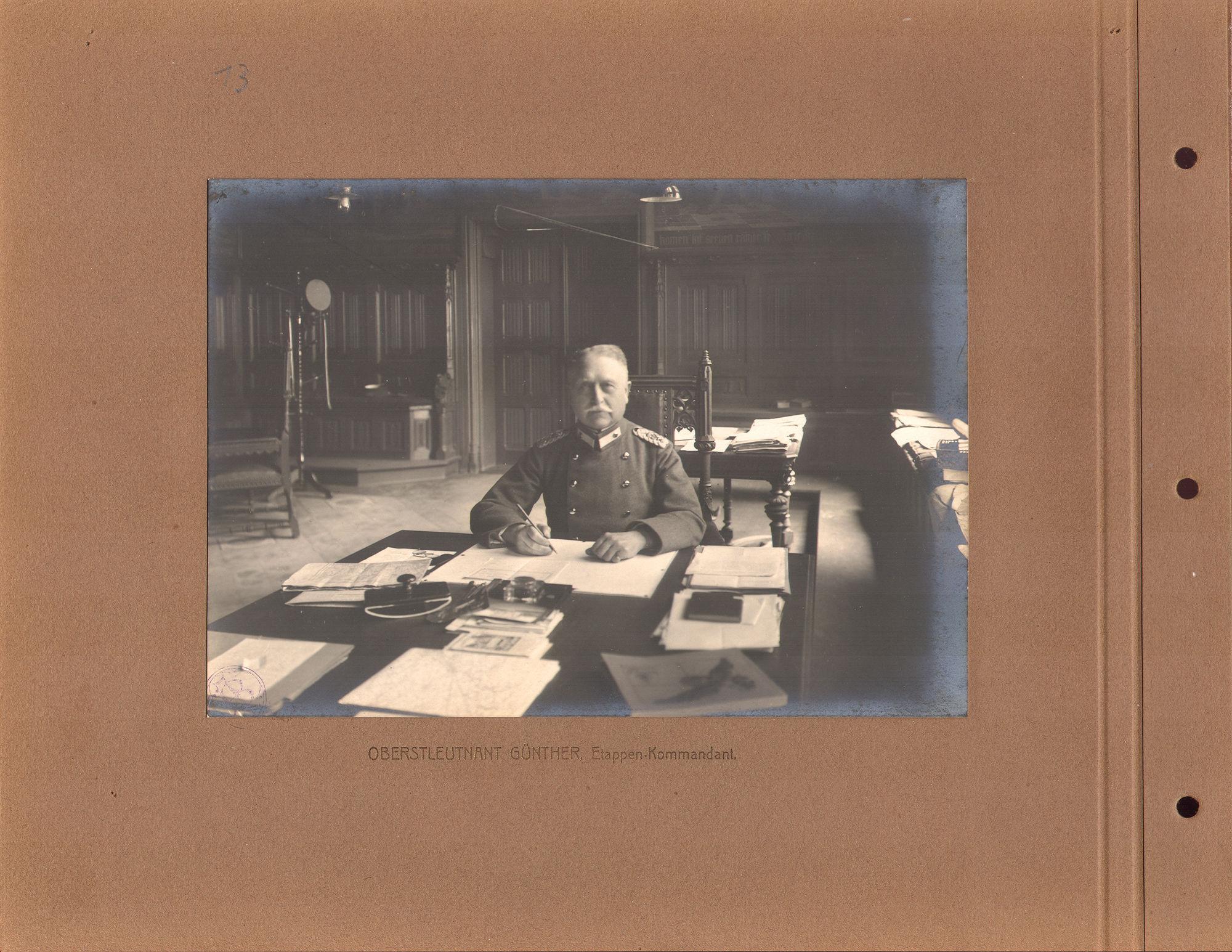 Luitenant Gunther tijdens Wereldoorlog I