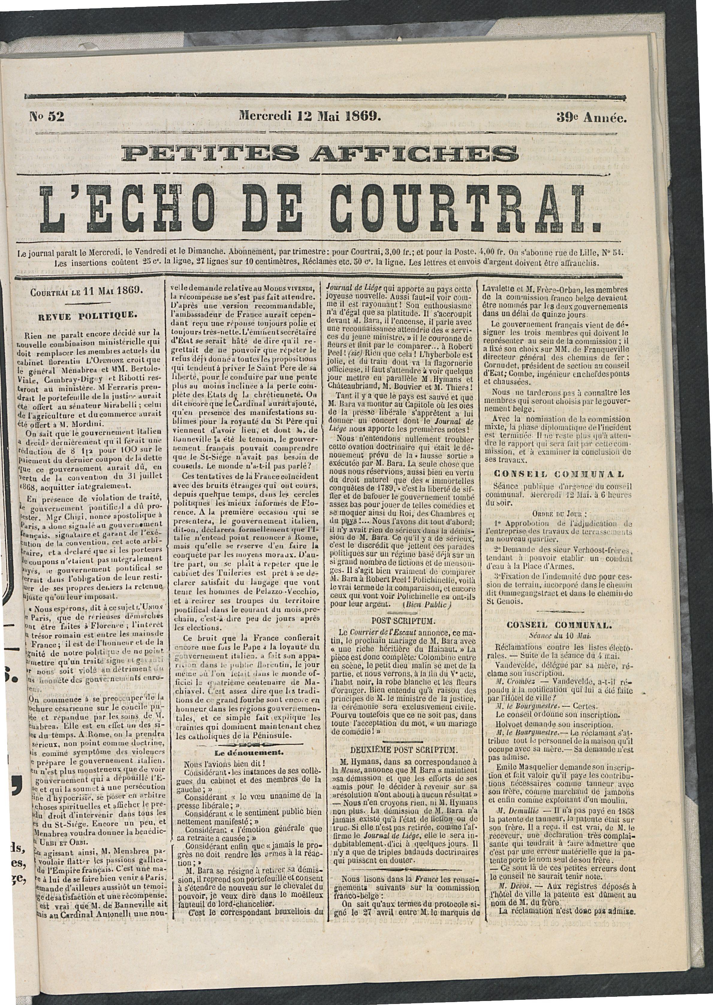 L'echo De Courtrai 1869-05-12 p1