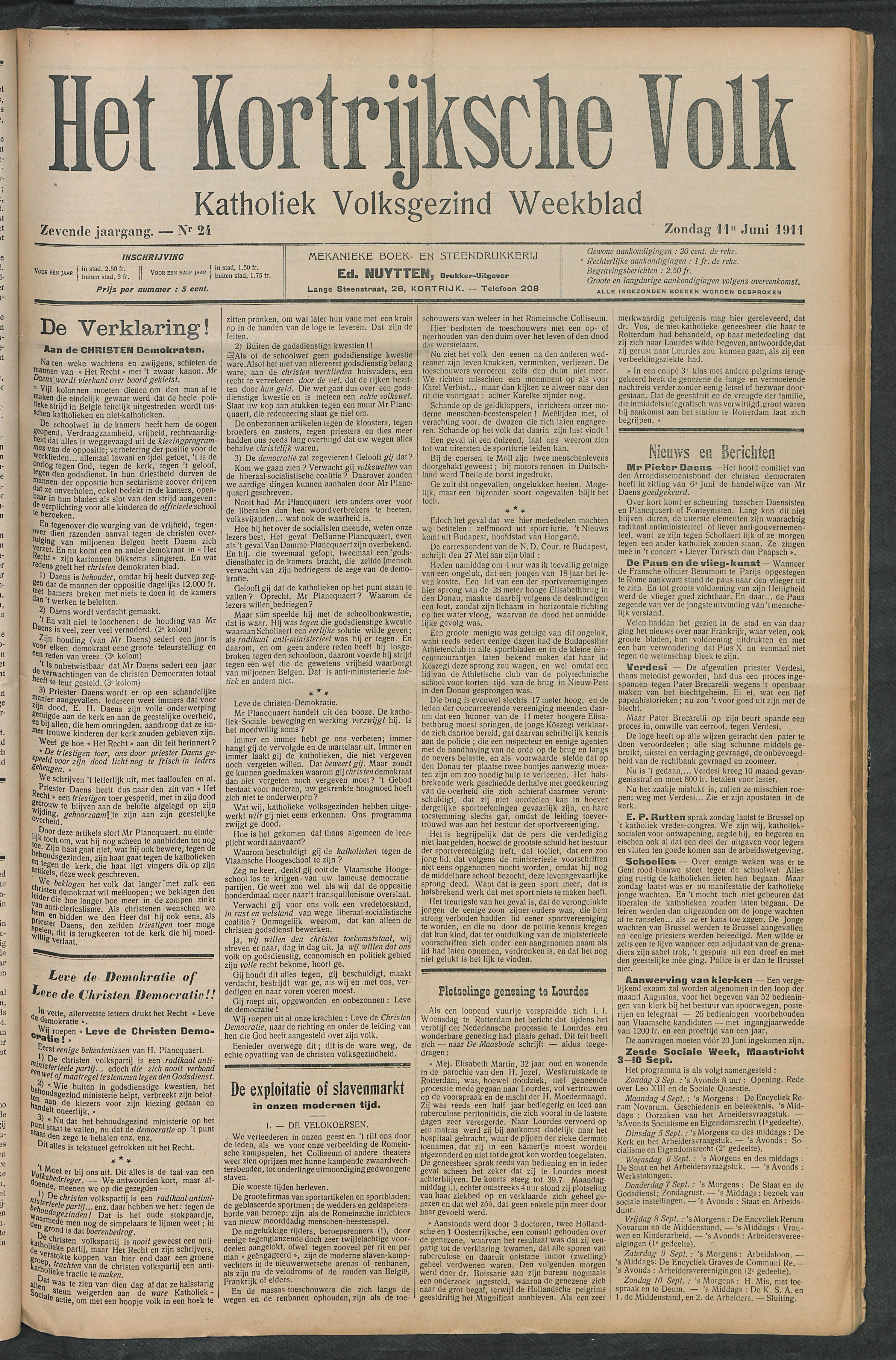 Het Kortrijksche Volk 1911-06-11 p1