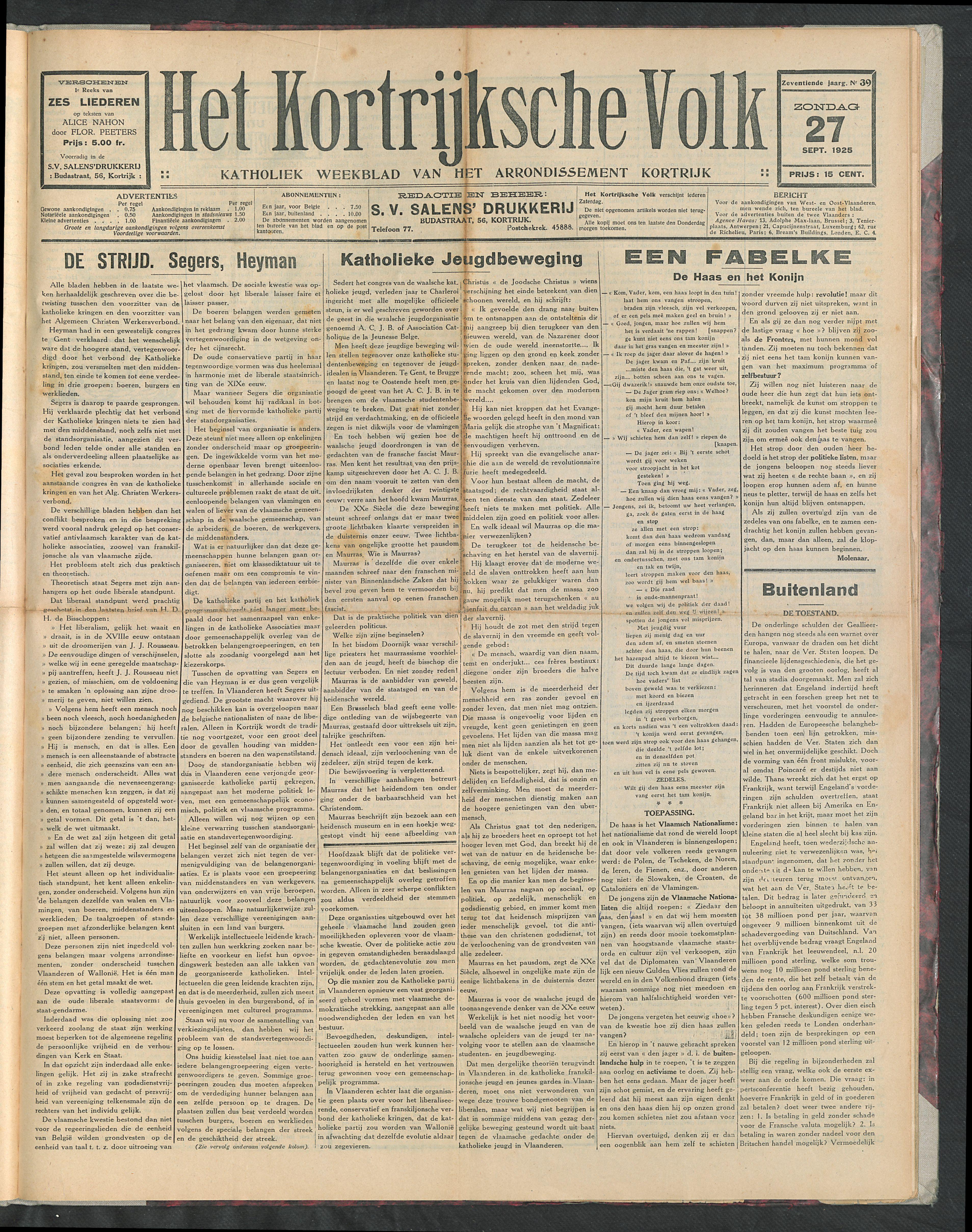 Het Kortrijksche Volk 1925-09-27 p1