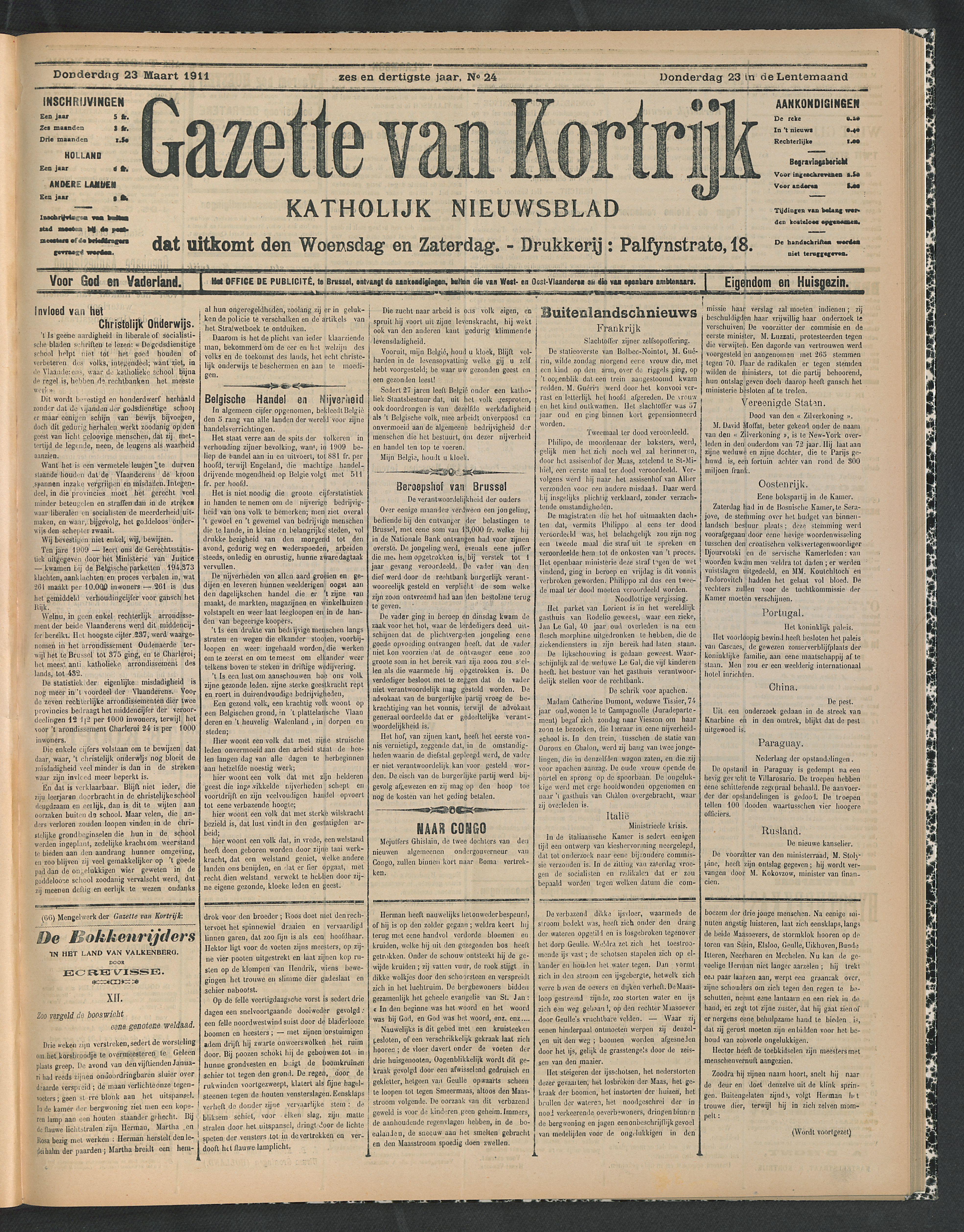 Gazette Van Kortrijk 1911-03-23 p1