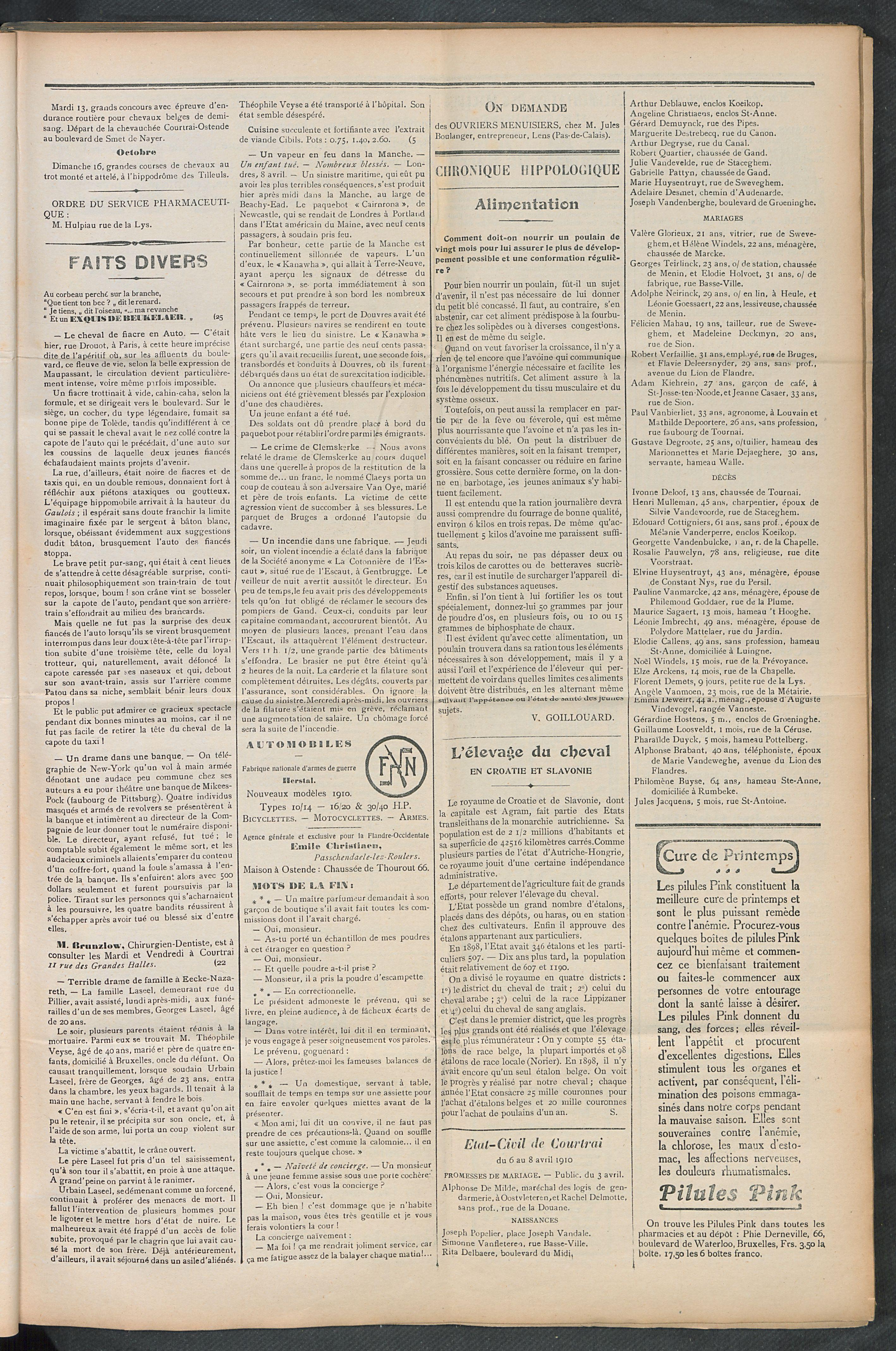 L'echo De Courtrai 1910-04-10 p3