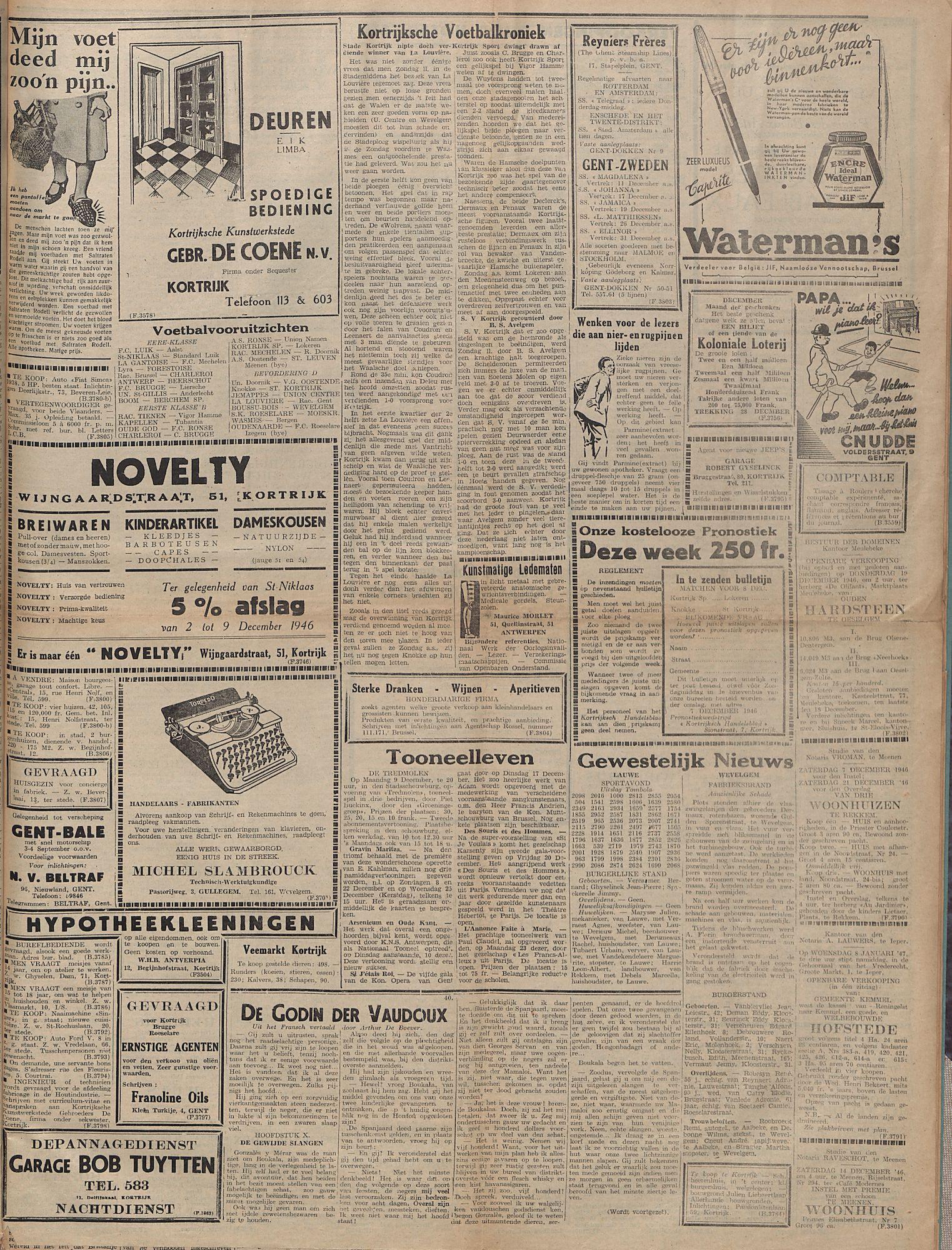 Kortrijksch Handelsblad 5 december 1946 Nr98 p3