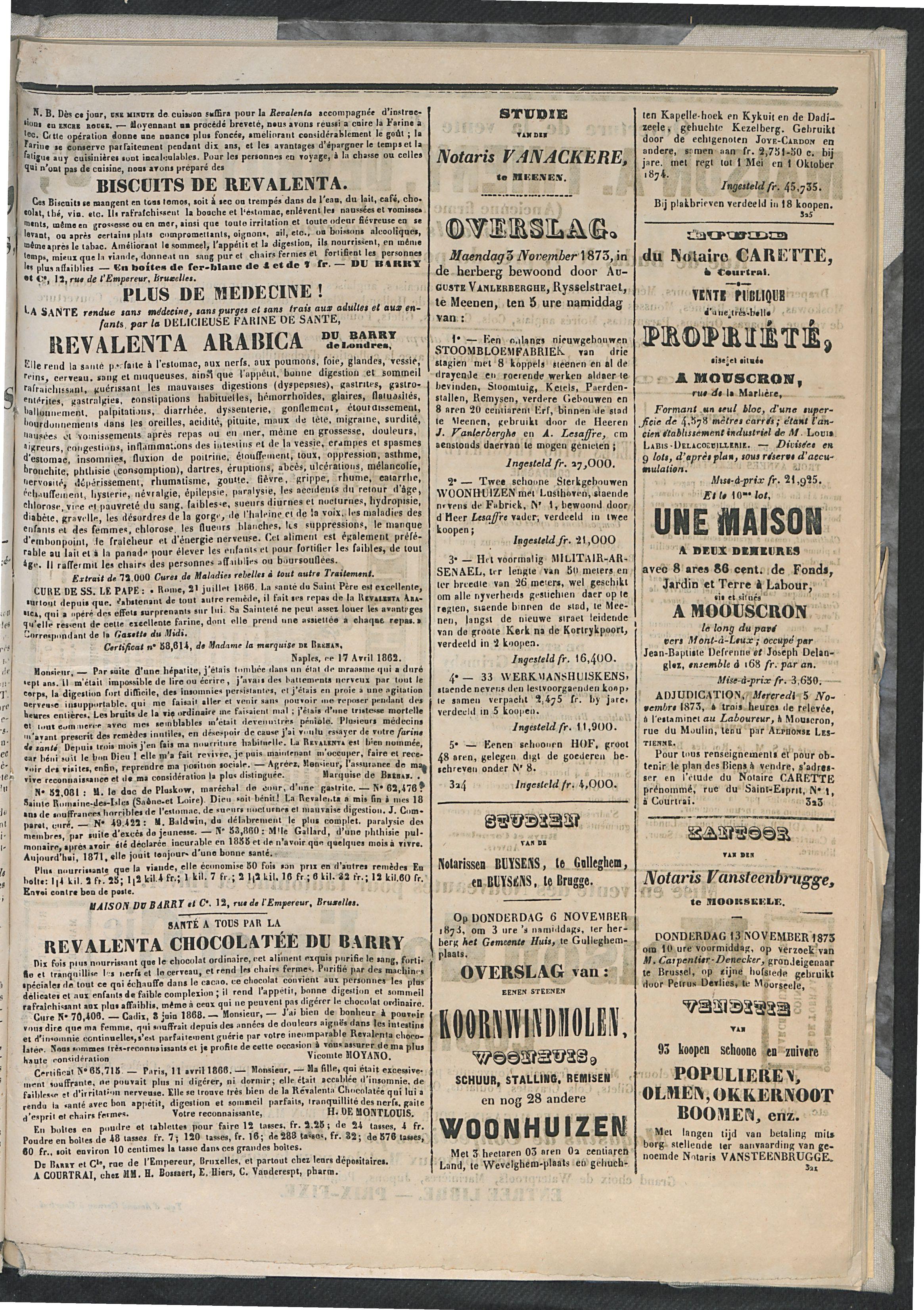 L'echo De Courtrai 1873-11-01 p5