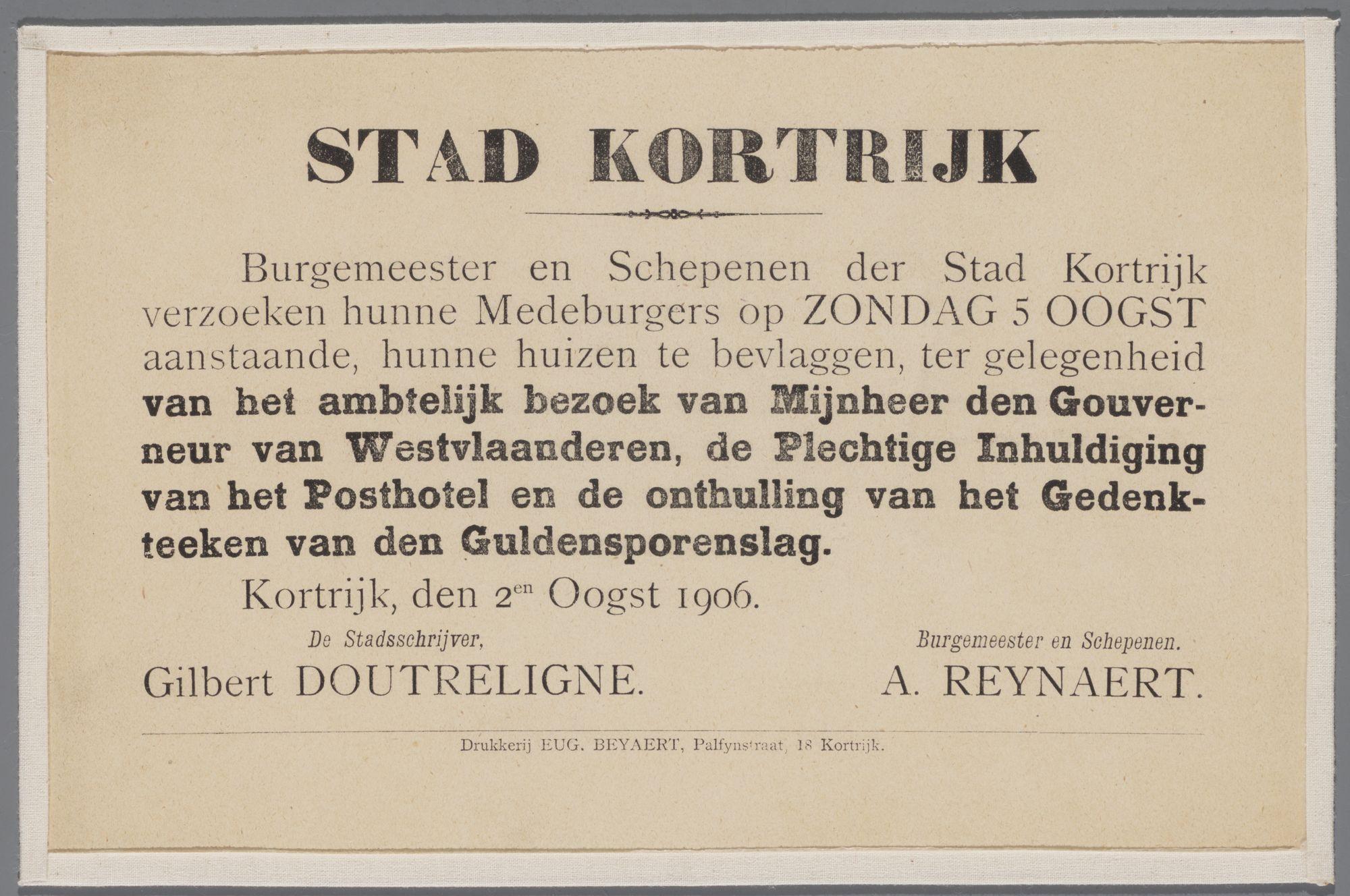 Oproep tot bevlaggen huizen 1906