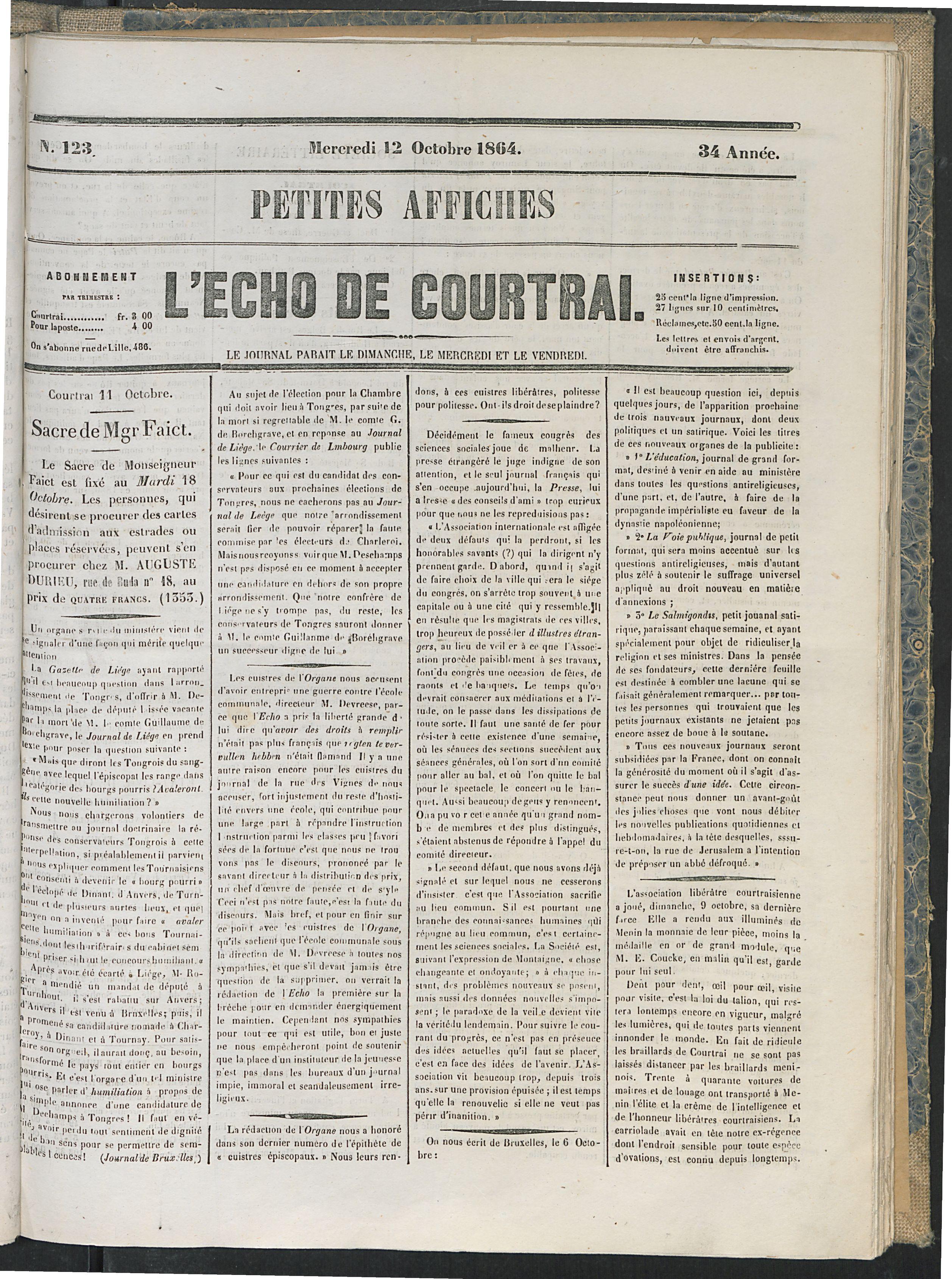 L'echo De Courtrai 1864-10-12 p1