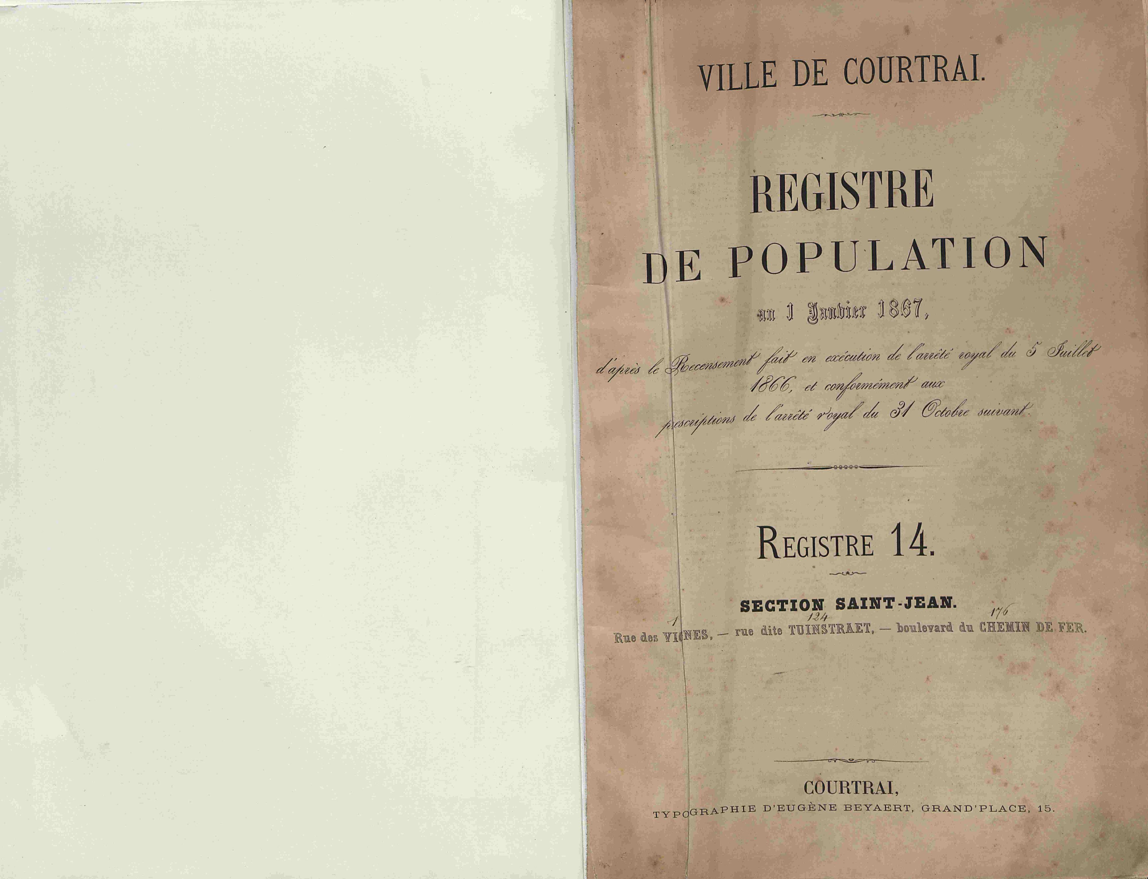 Bevolkingsregister Kortrijk 1866 boek 14