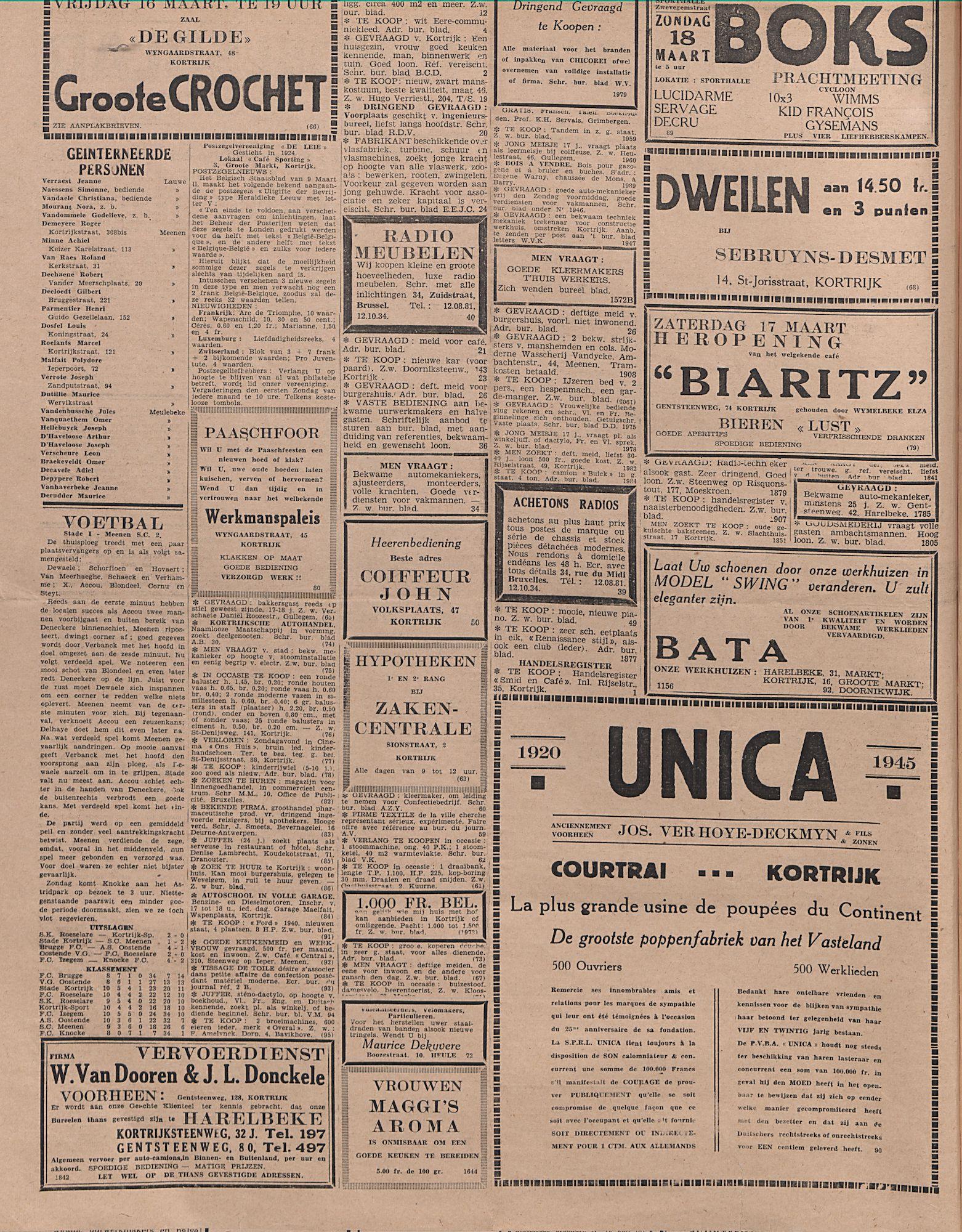 Kortrijksch Handelsblad 14 maart 1945 Nr21 p2