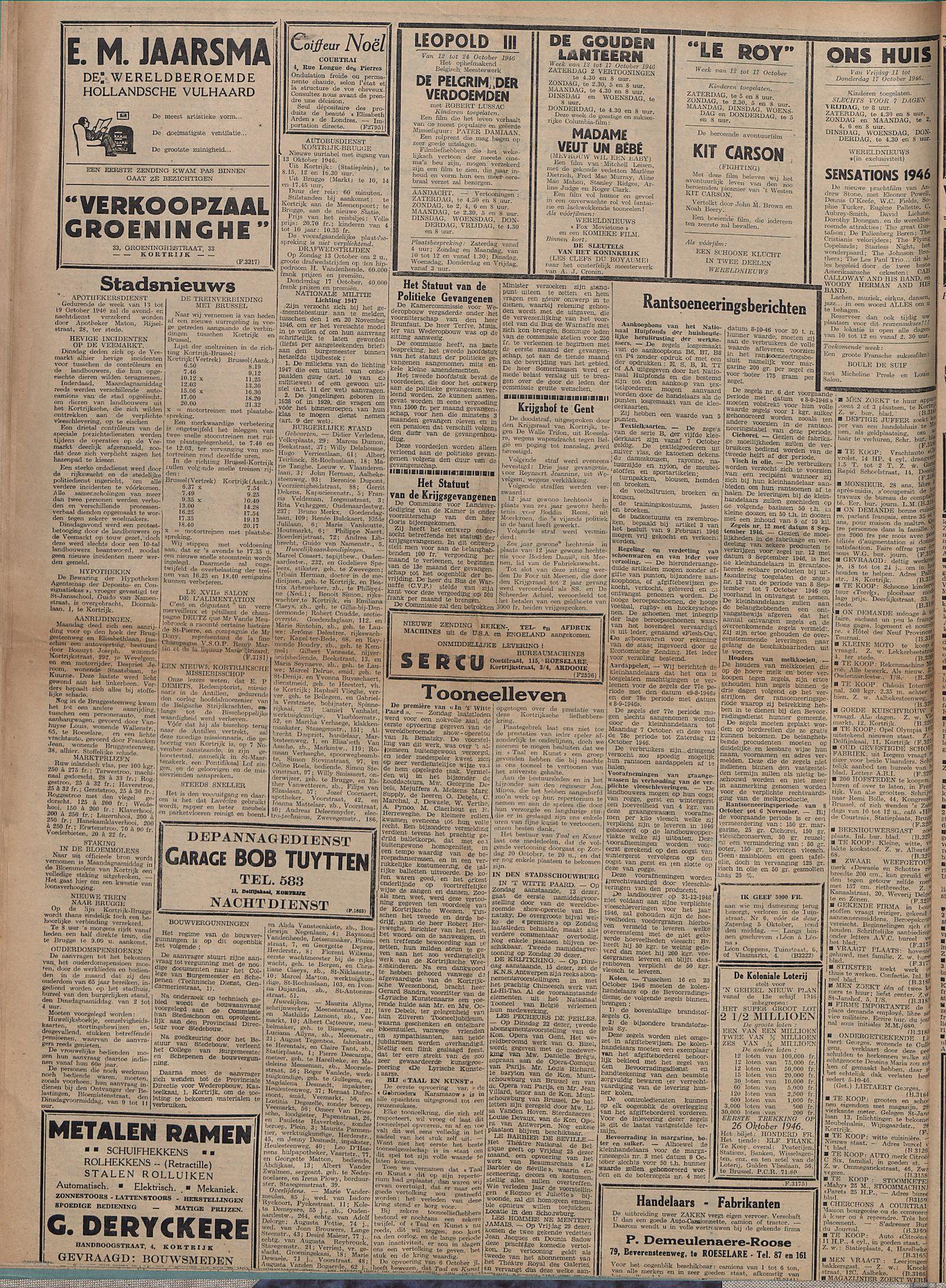 Kortrijksch Handelsblad 11 oktober 1946 Nr82 p2