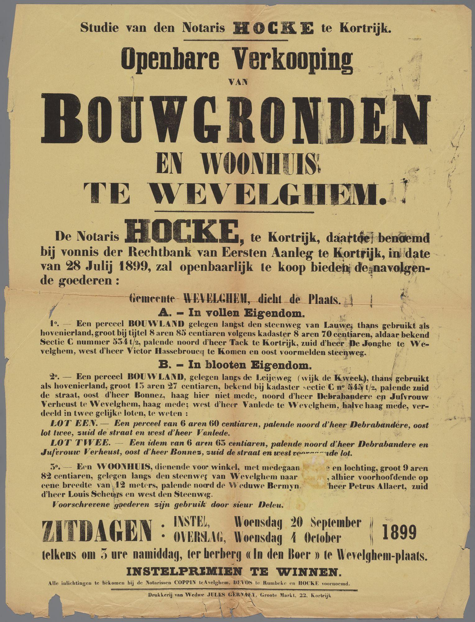 Openbare verkoop te Wevelgem 1899