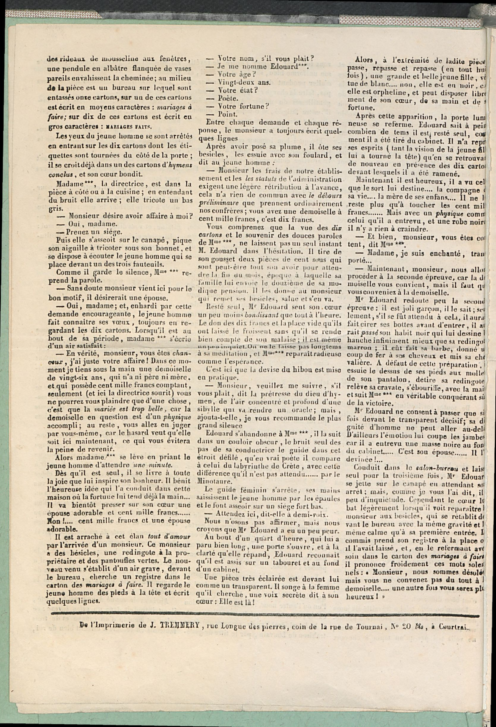 Petites Affiches De Courtrai 1835-08-23 p4