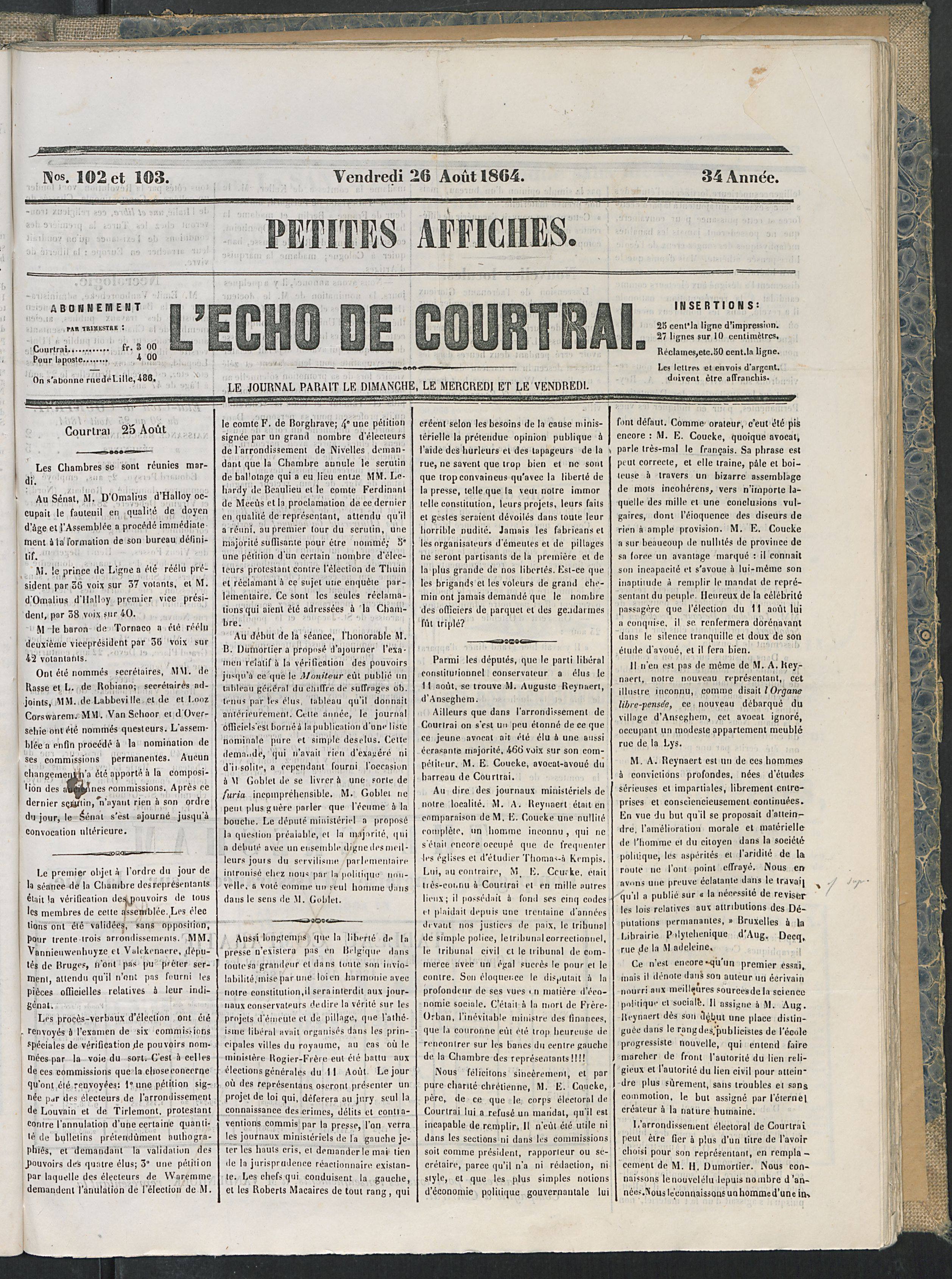 L'echo De Courtrai 1864-08-26 p1