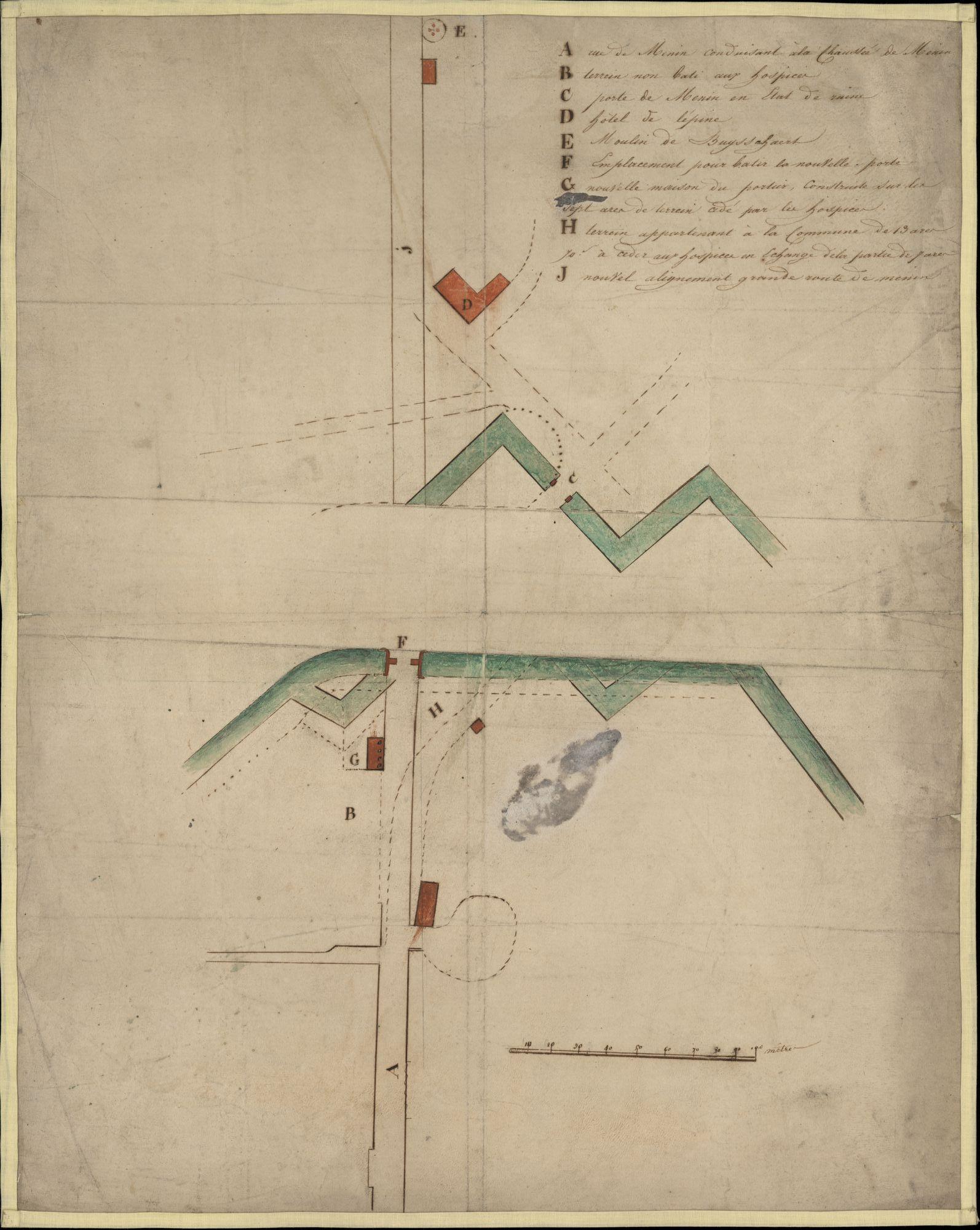 Plattegrond voor de bouw van een nieuwe Meensepoort, een huis voor de poortwachter en voor het verleggen van de Meensesteenweg te Kortrijk, ± 1825