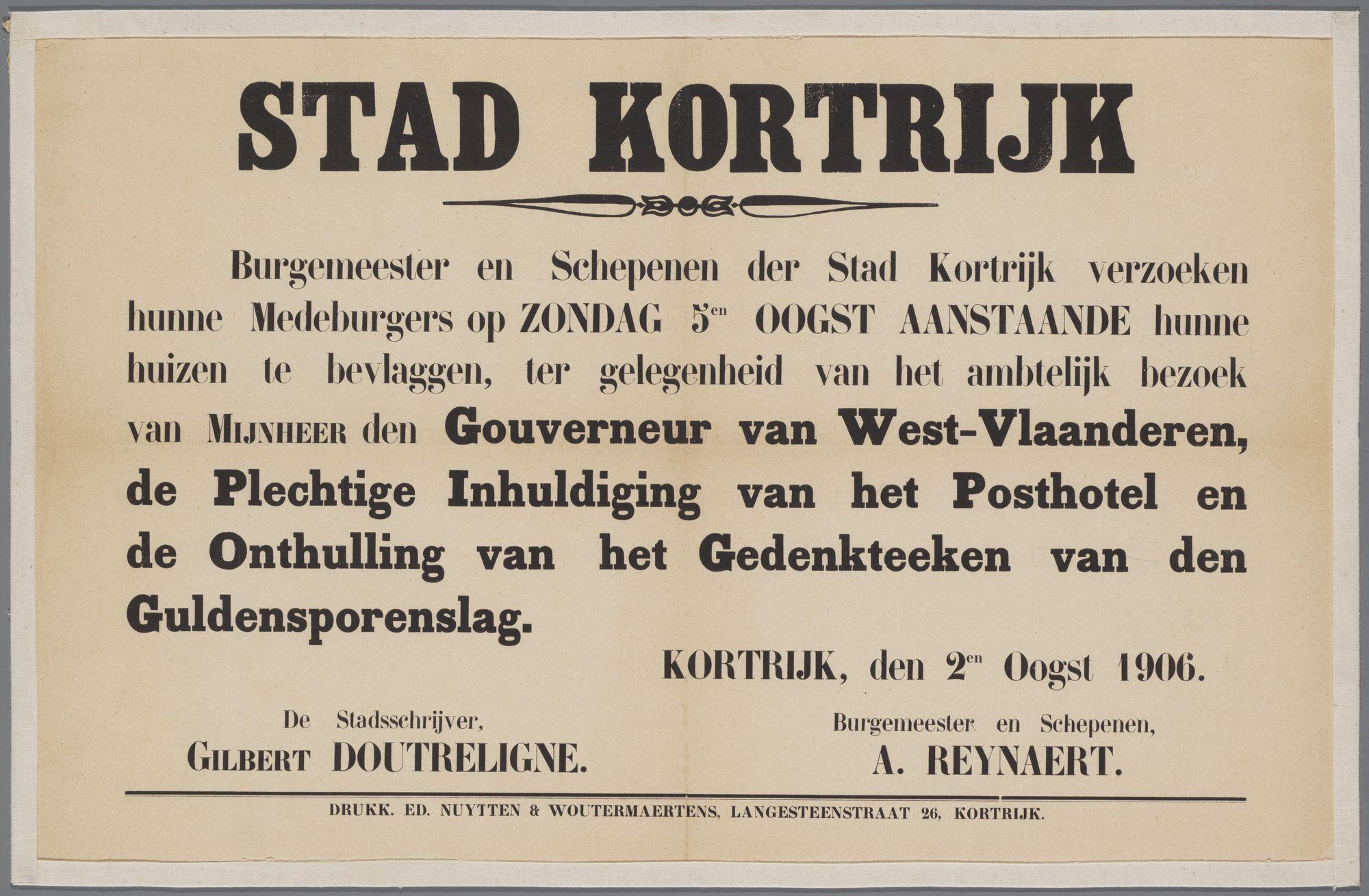 Oproep om de huizen te bevlaggen1906