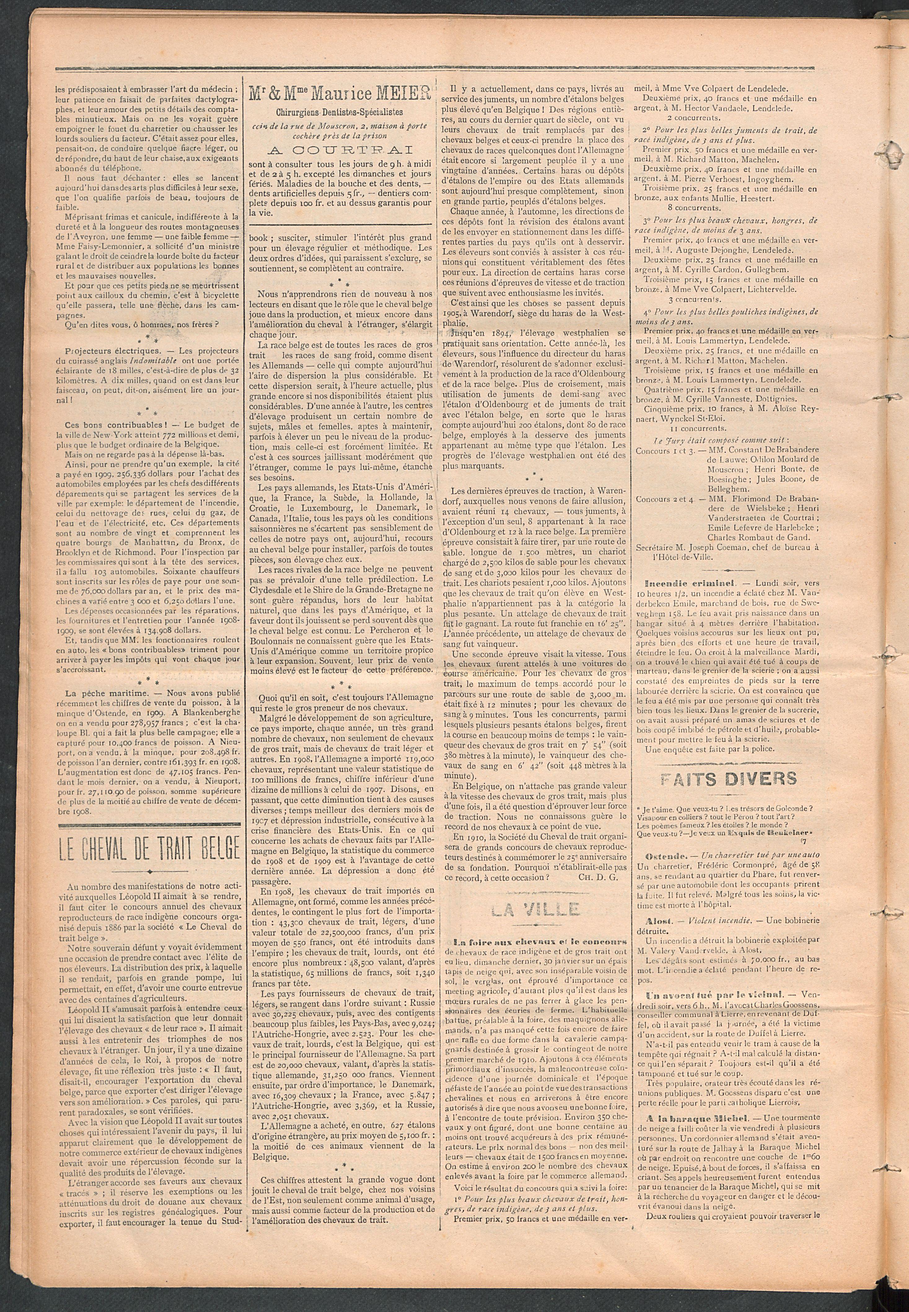 L'echo De Courtrai 1910-02-03 p2