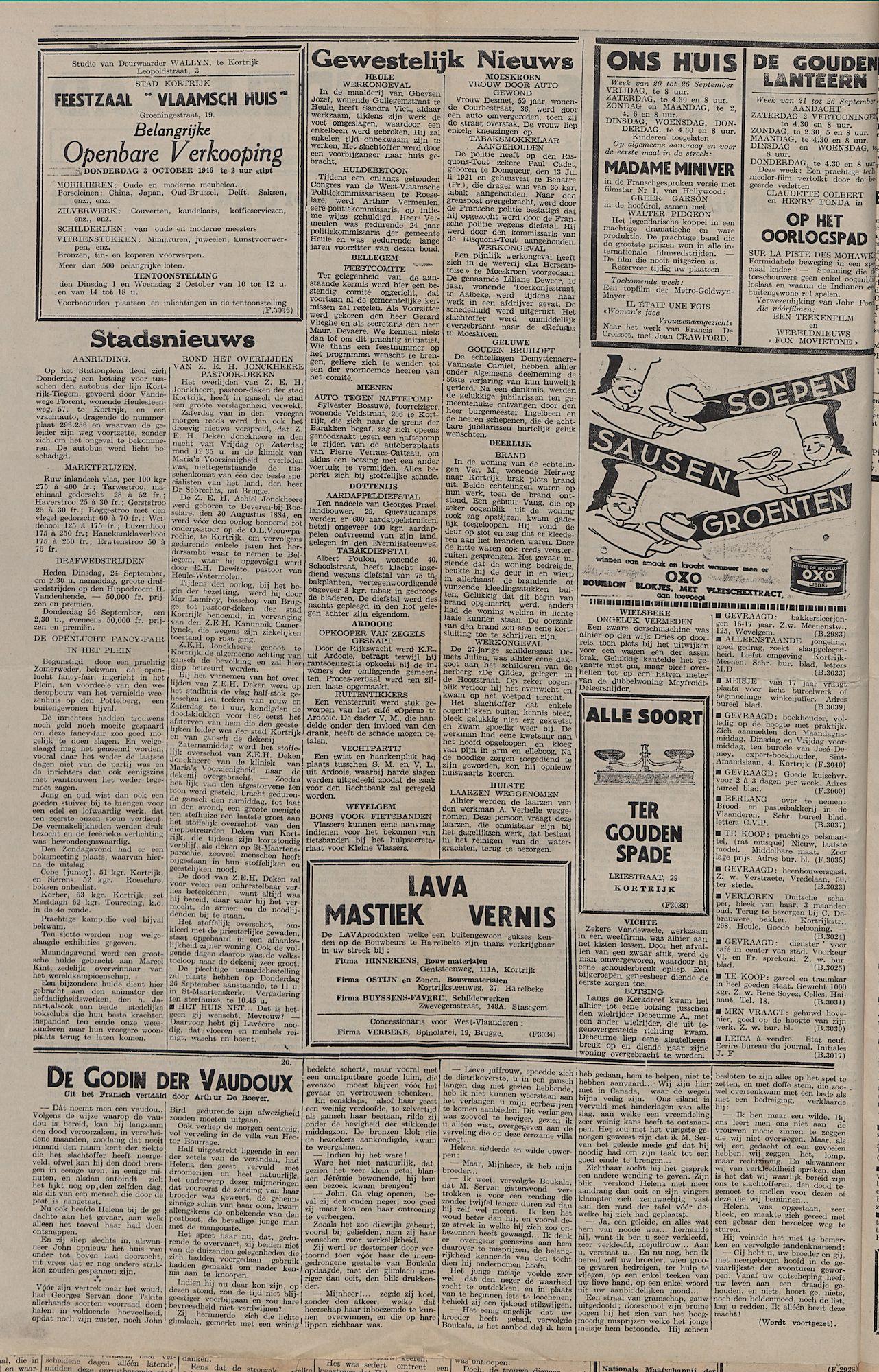 Kortrijksch Handelsblad 24 september 1946 Nr77 p2