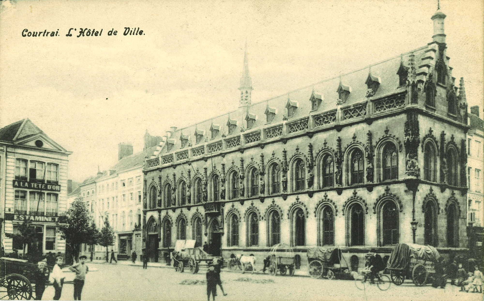 Grote Markt, met stadhuis, Rijselsstraat en Leiestraat
