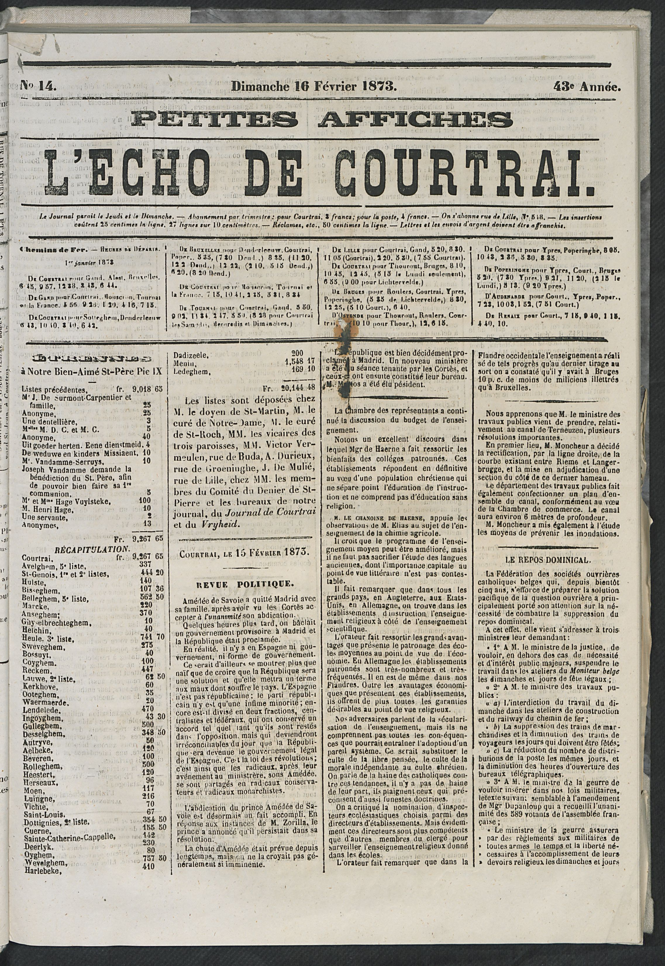 L'echo De Courtrai 1873-02-16 p2
