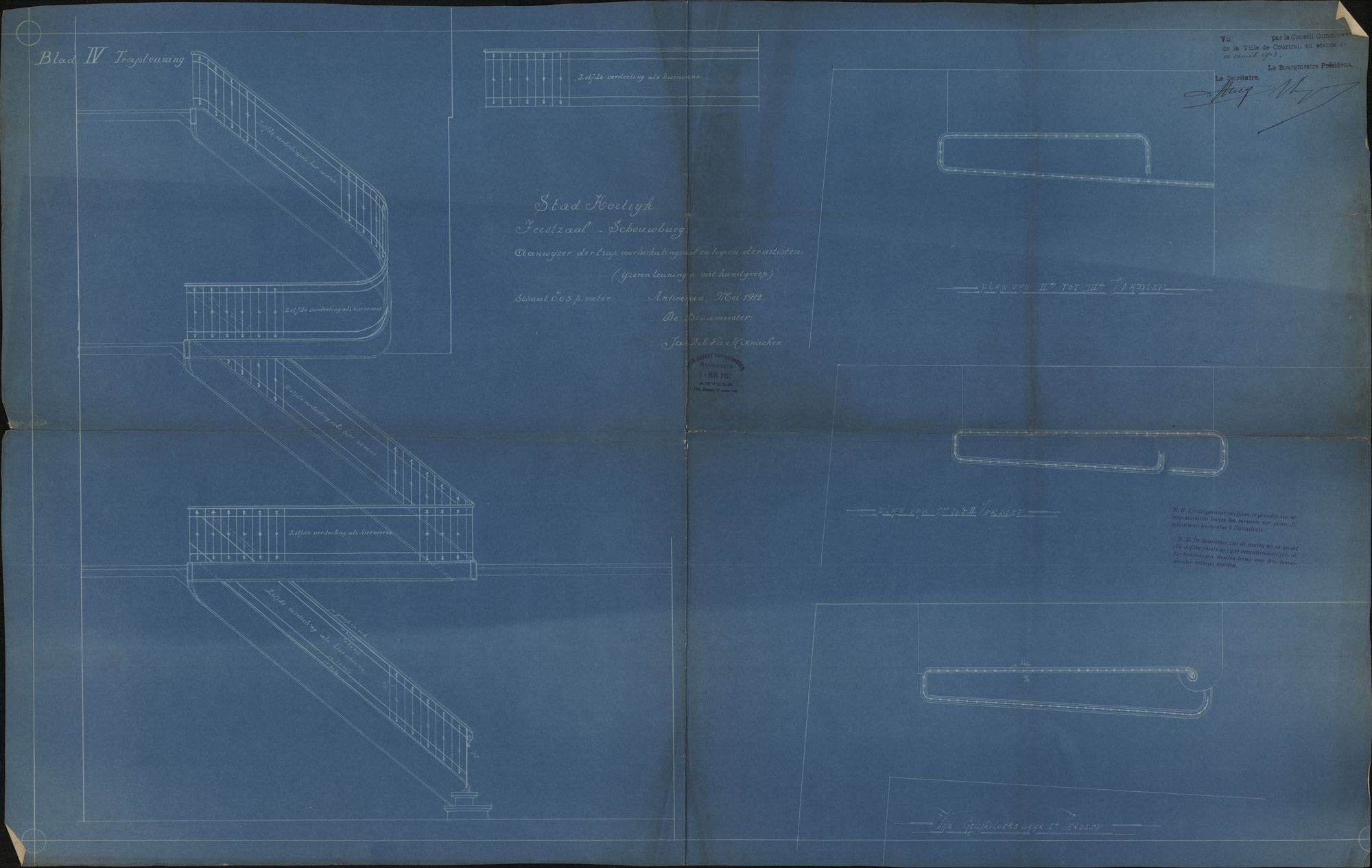Bouwplannen van de stadsschouwburg te Kortrijk, 1911-1912