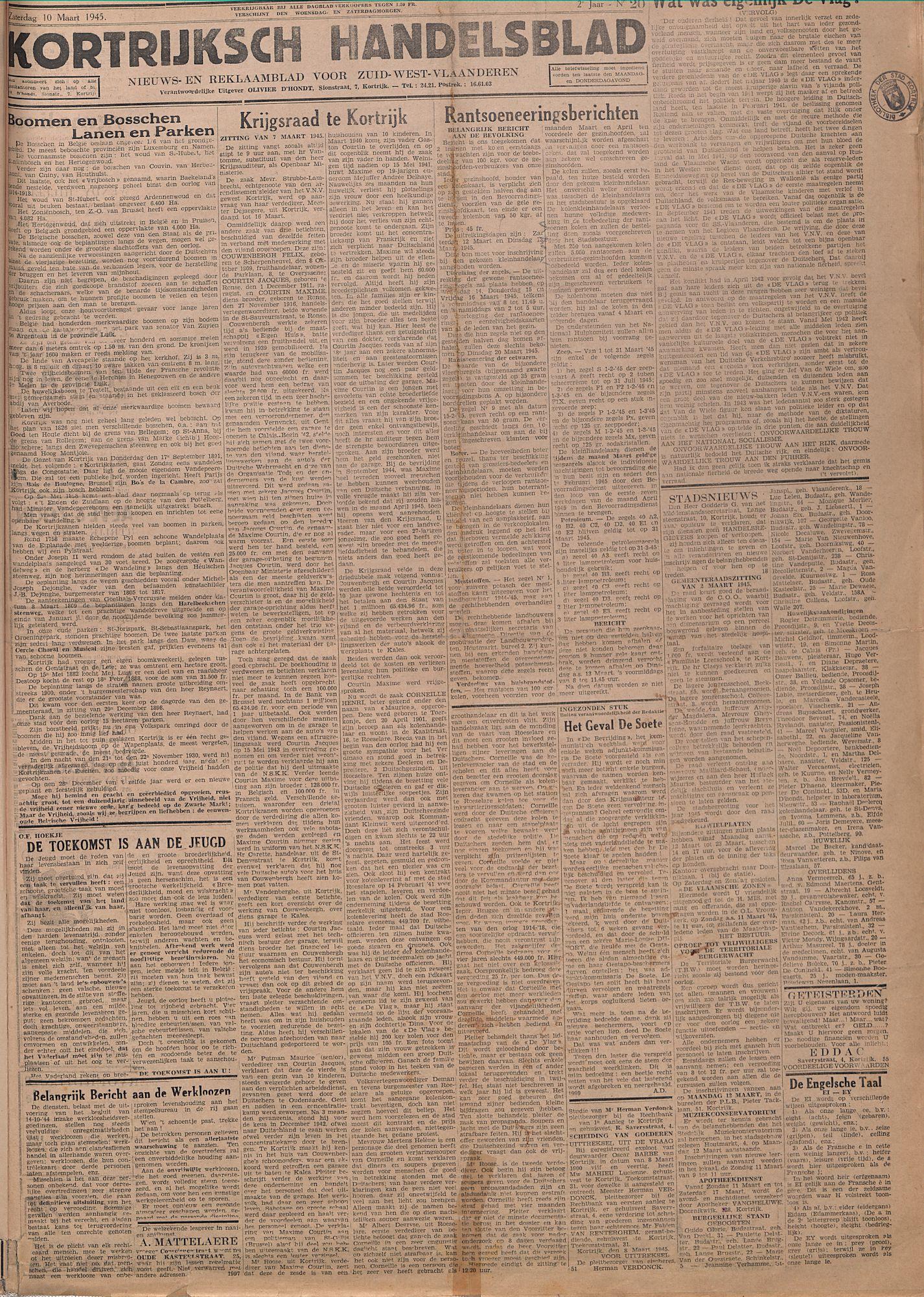 Kortrijksch Handelsblad 10 maart 1945 Nr20 p1