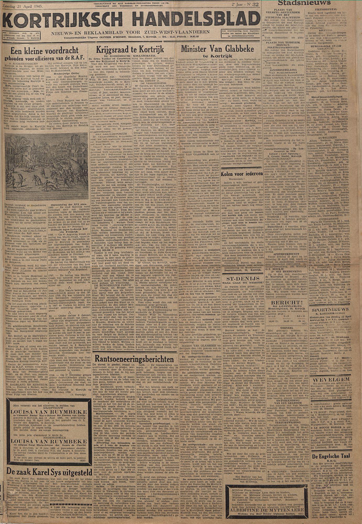 Kortrijksch Handelsblad 21 april 1945 Nr32 p1
