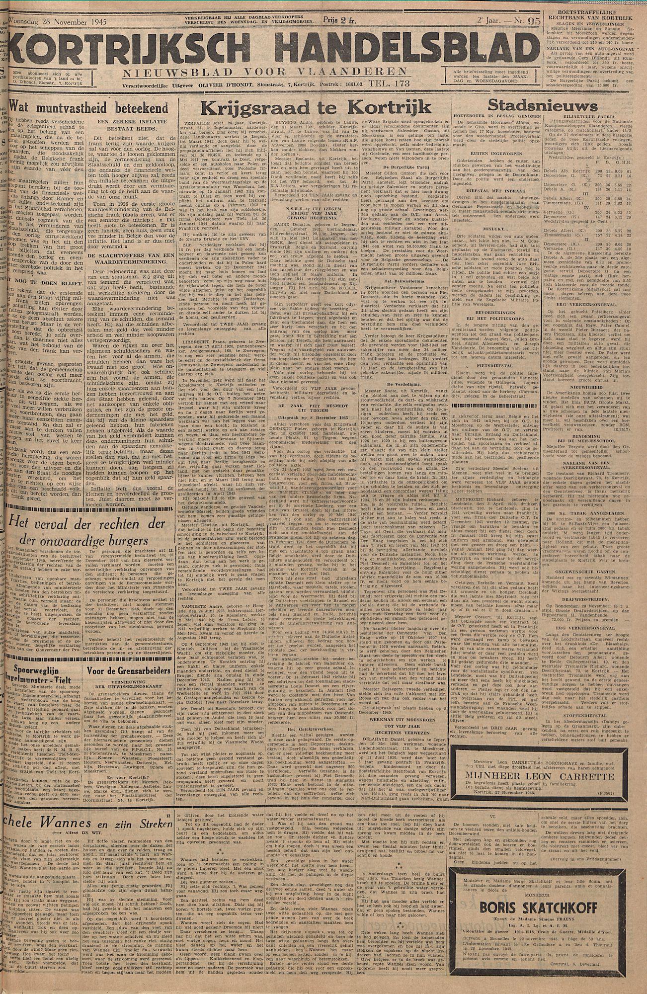 Kortrijksch Handelsblad 28 november 1945 Nr95 p1