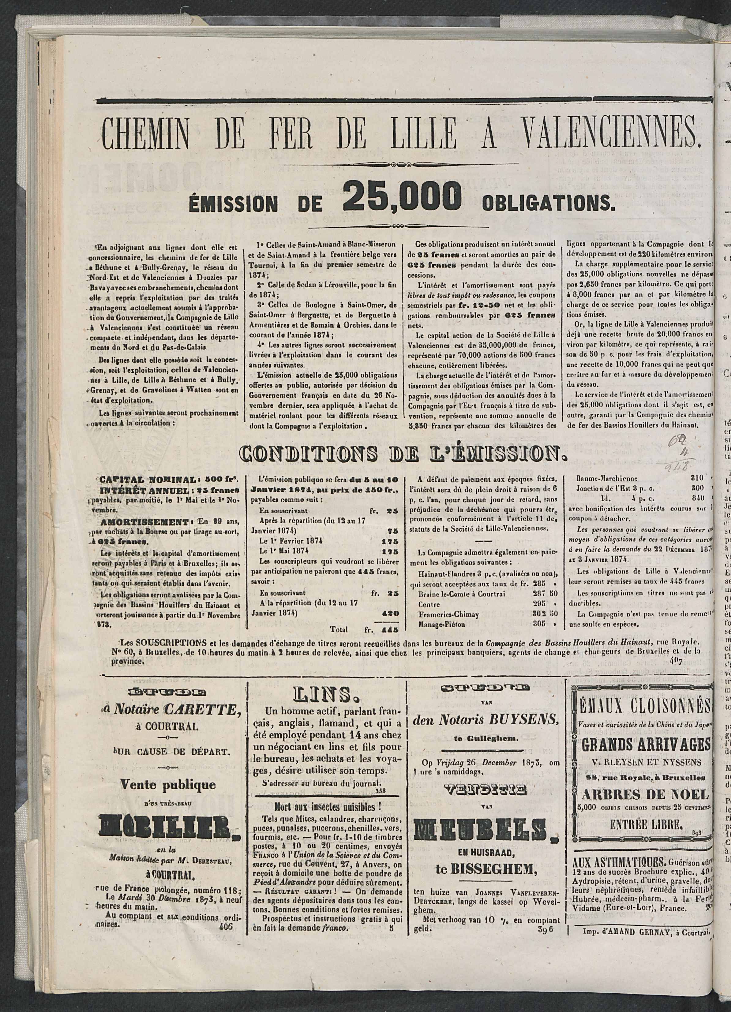 L'echo De Courtrai 1873-12-25 p4