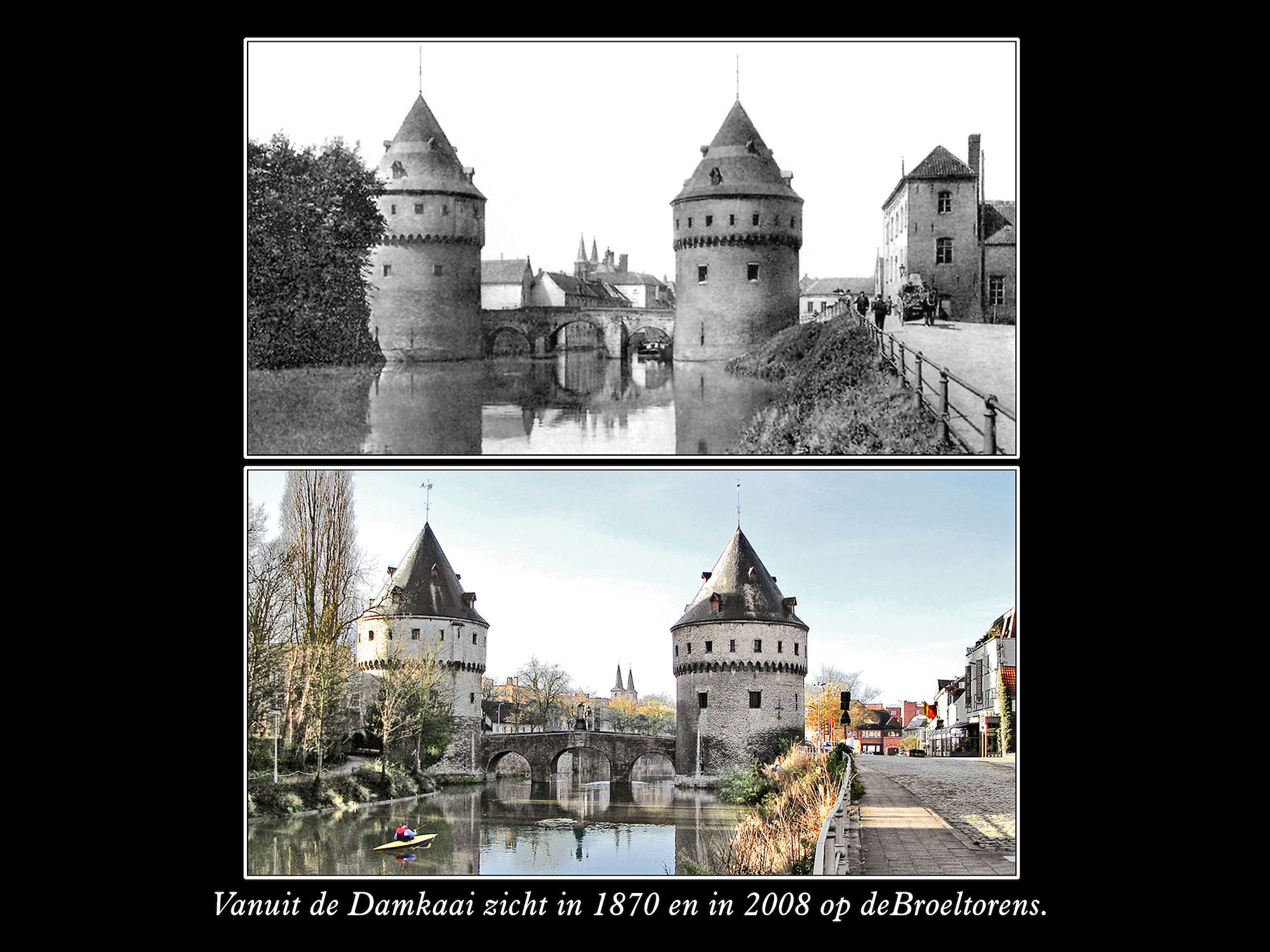 Damkaai en Broeltorens 1870 en 2008