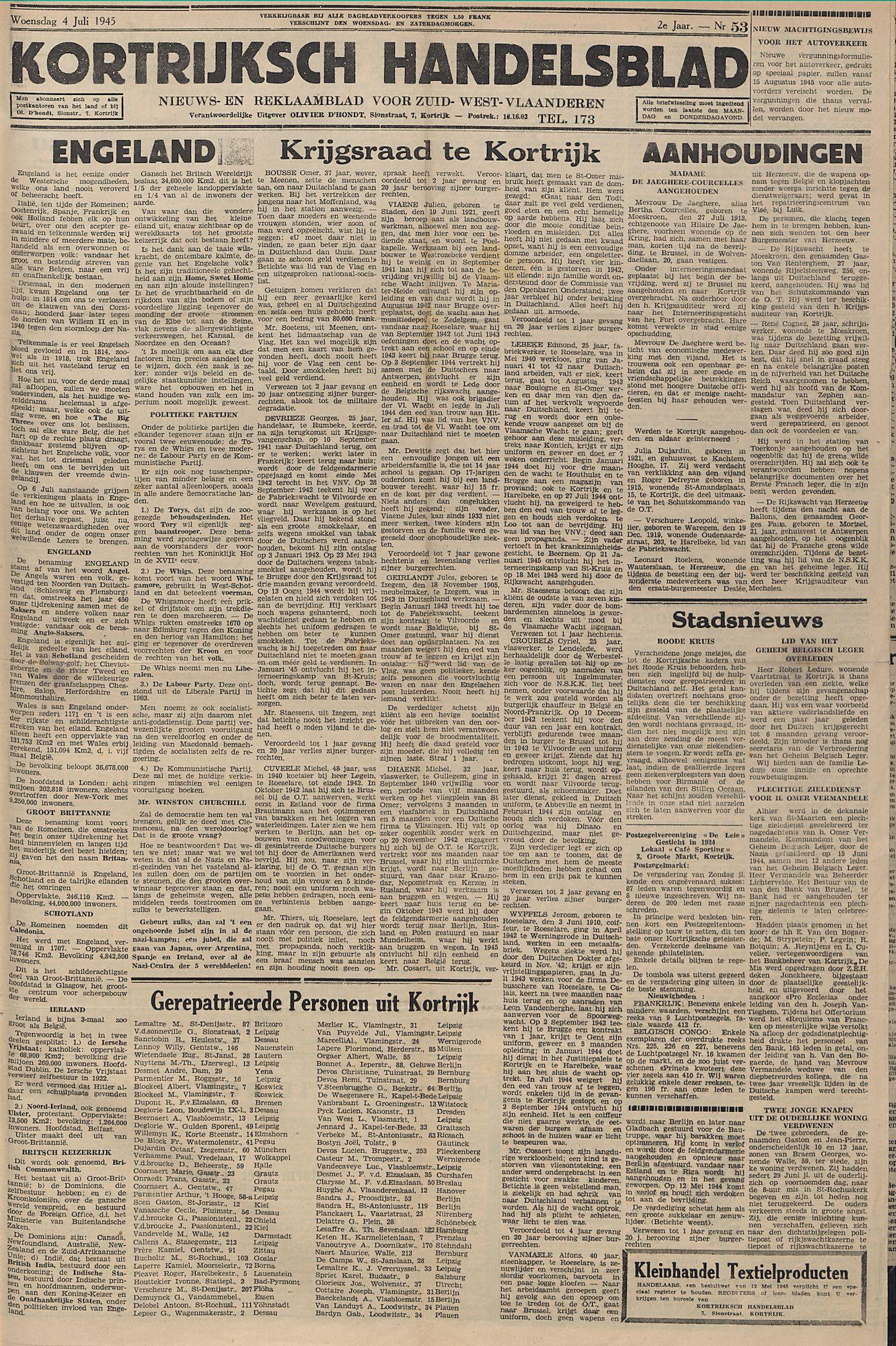 Kortrijksch Handelsblad 4 juli 1945 Nr53 p1