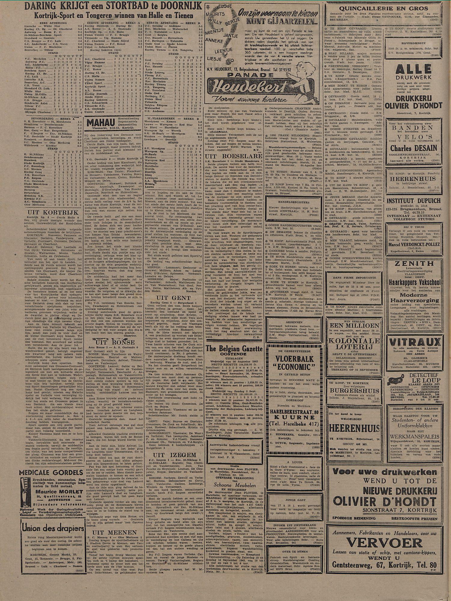 Kortrijksch Handelsblad 12 september 1945 Nr73 p2