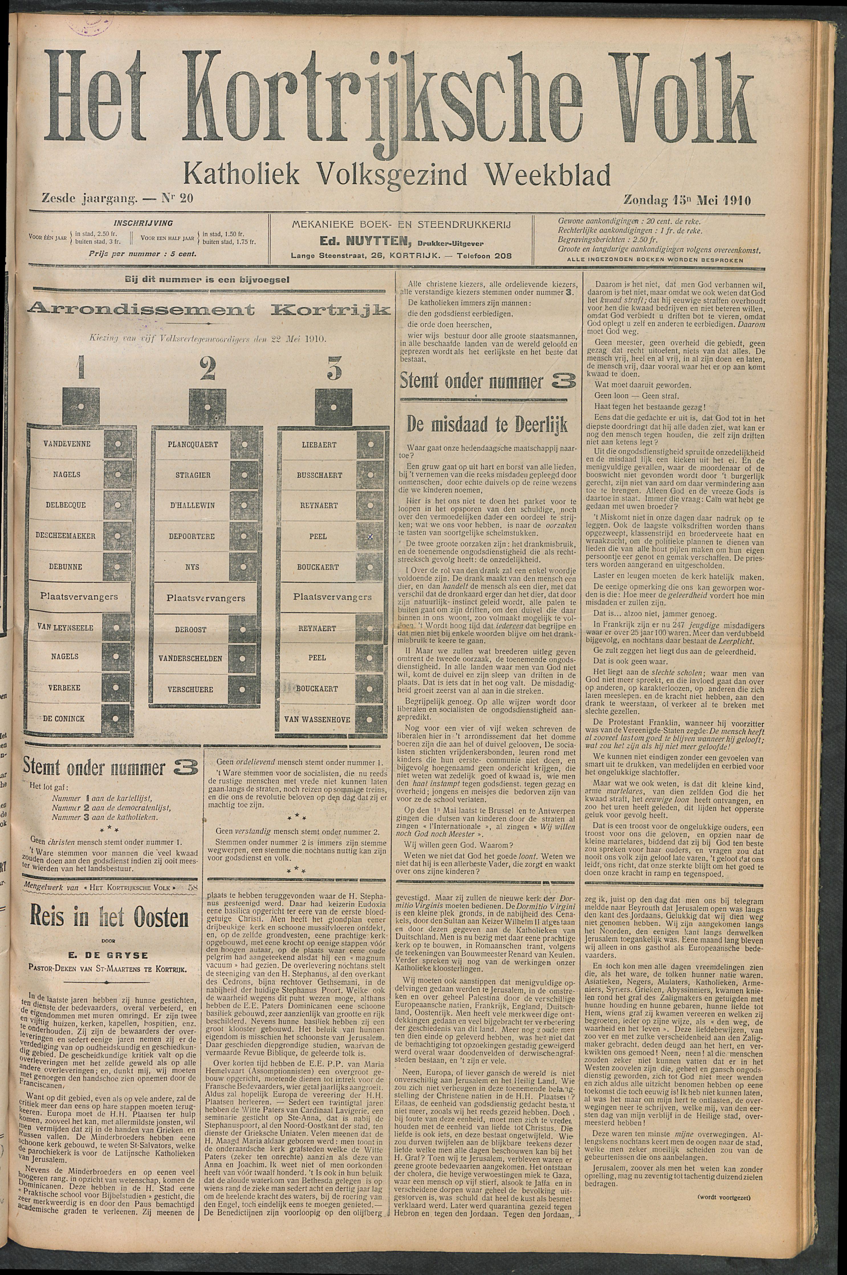 Het Kortrijksche Volk 1910-05-15 p1