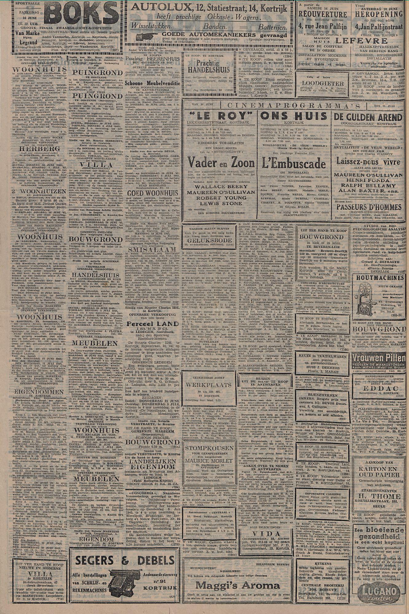 Kortrijksch Handelsblad 16 juni 1945 Nr48 p2