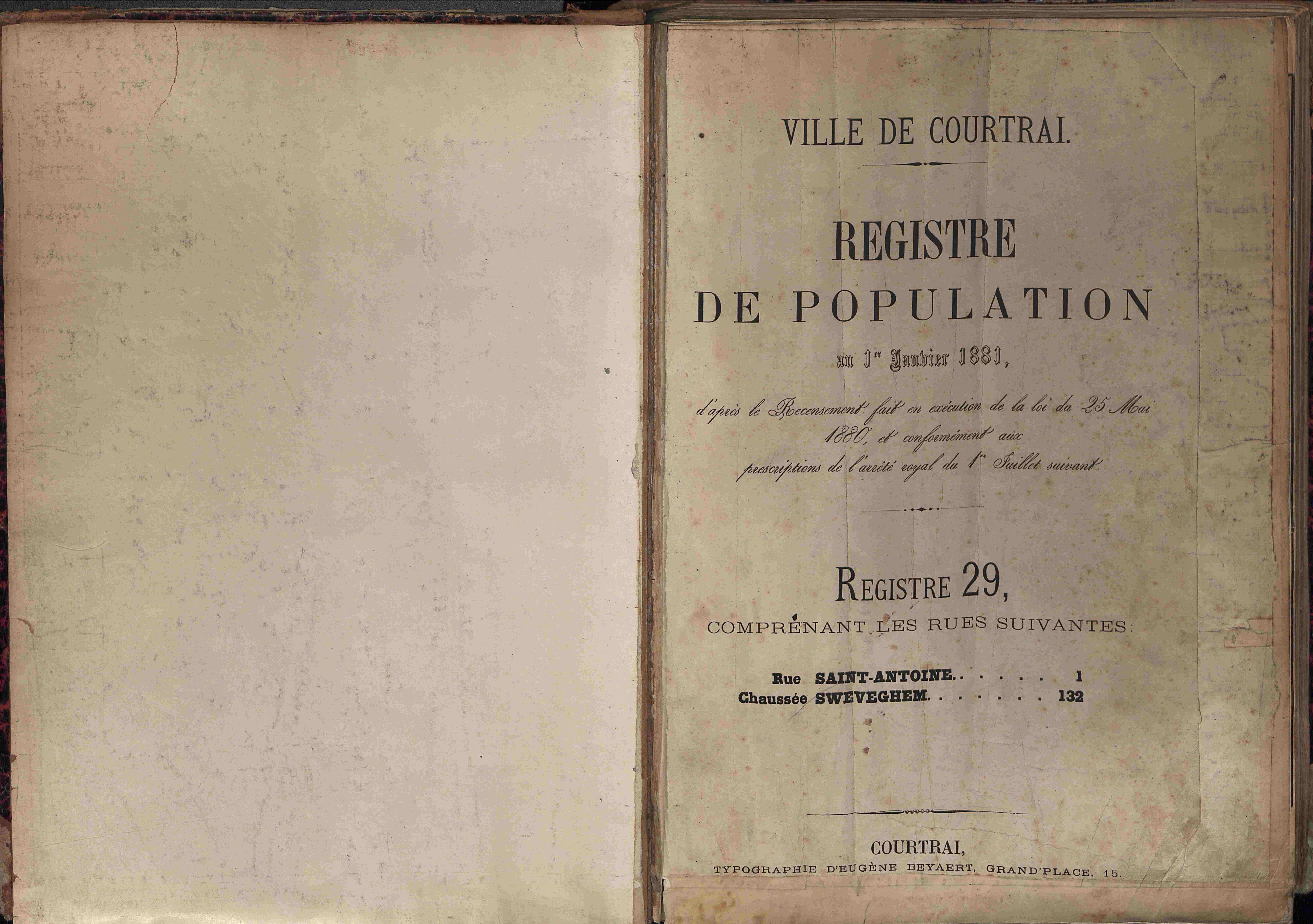 Bevolkingsregister Kortrijk 1880 boek 29