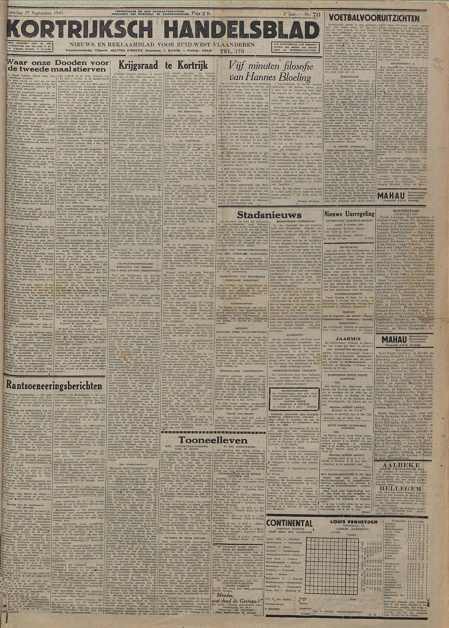 Kortrijksch Handelsblad 29 september 1945 Nr78 p1