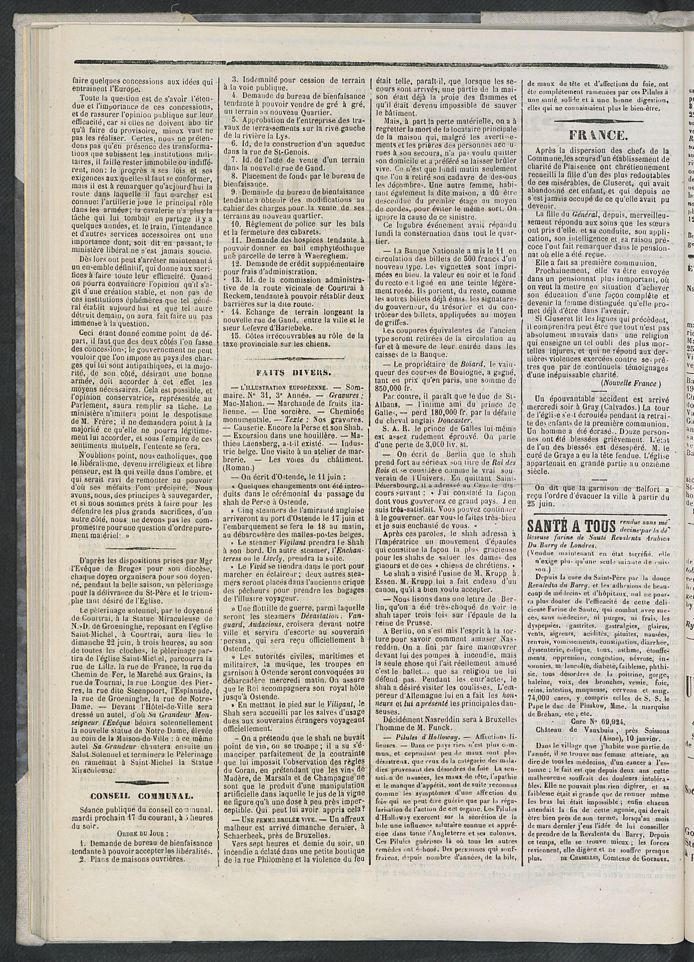 L'echo De Courtrai 1873-06-15 p2