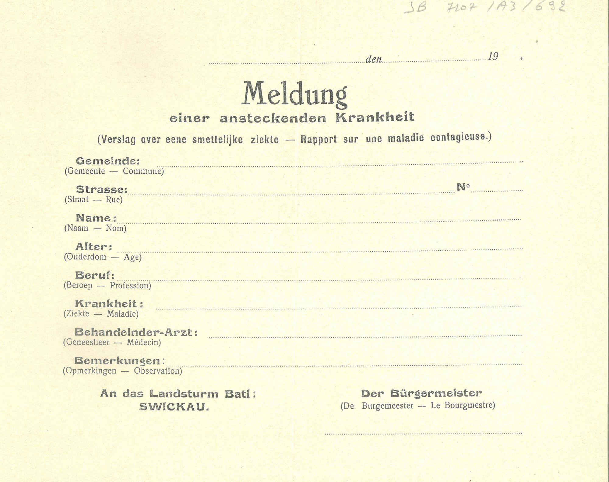 Ziekte tijdens Wereldoorlog I