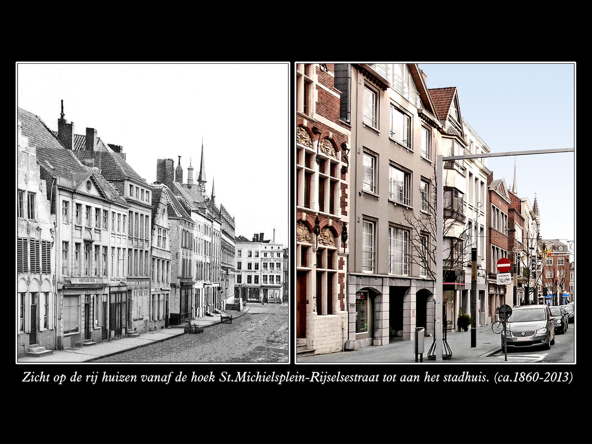 Rijselsestraat ca 1860 en 2013