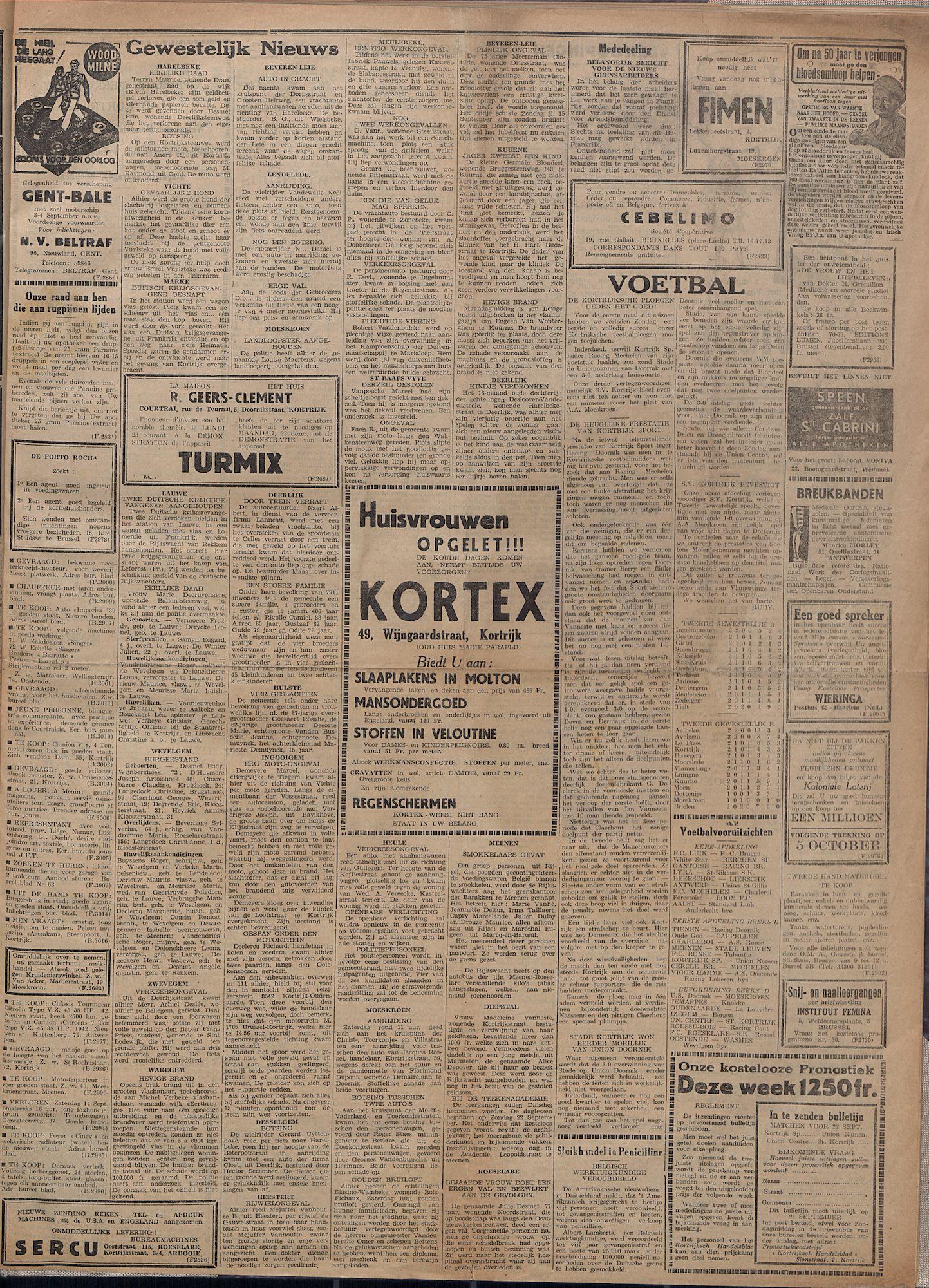 Kortrijksch Handelsblad 20 september 1946 Nr76 p3