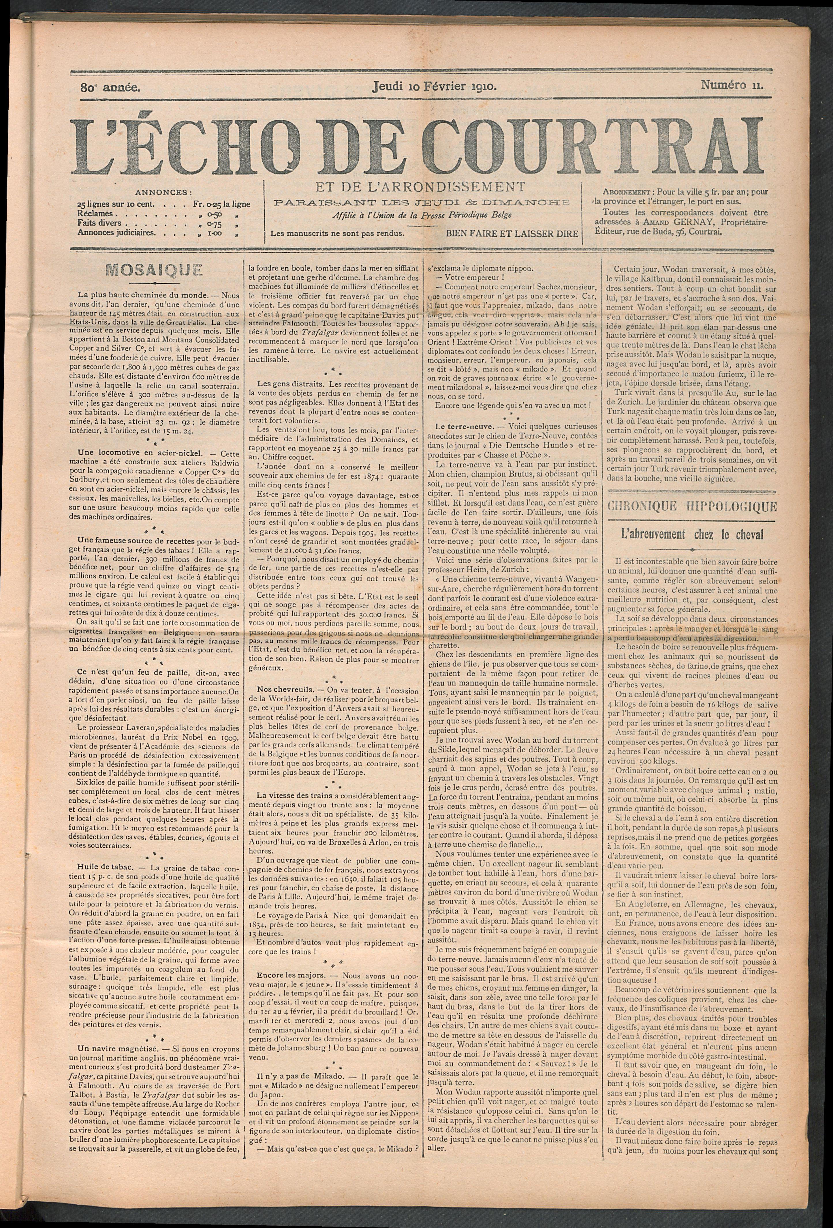 L'echo De Courtrai 1910-02-10 p1