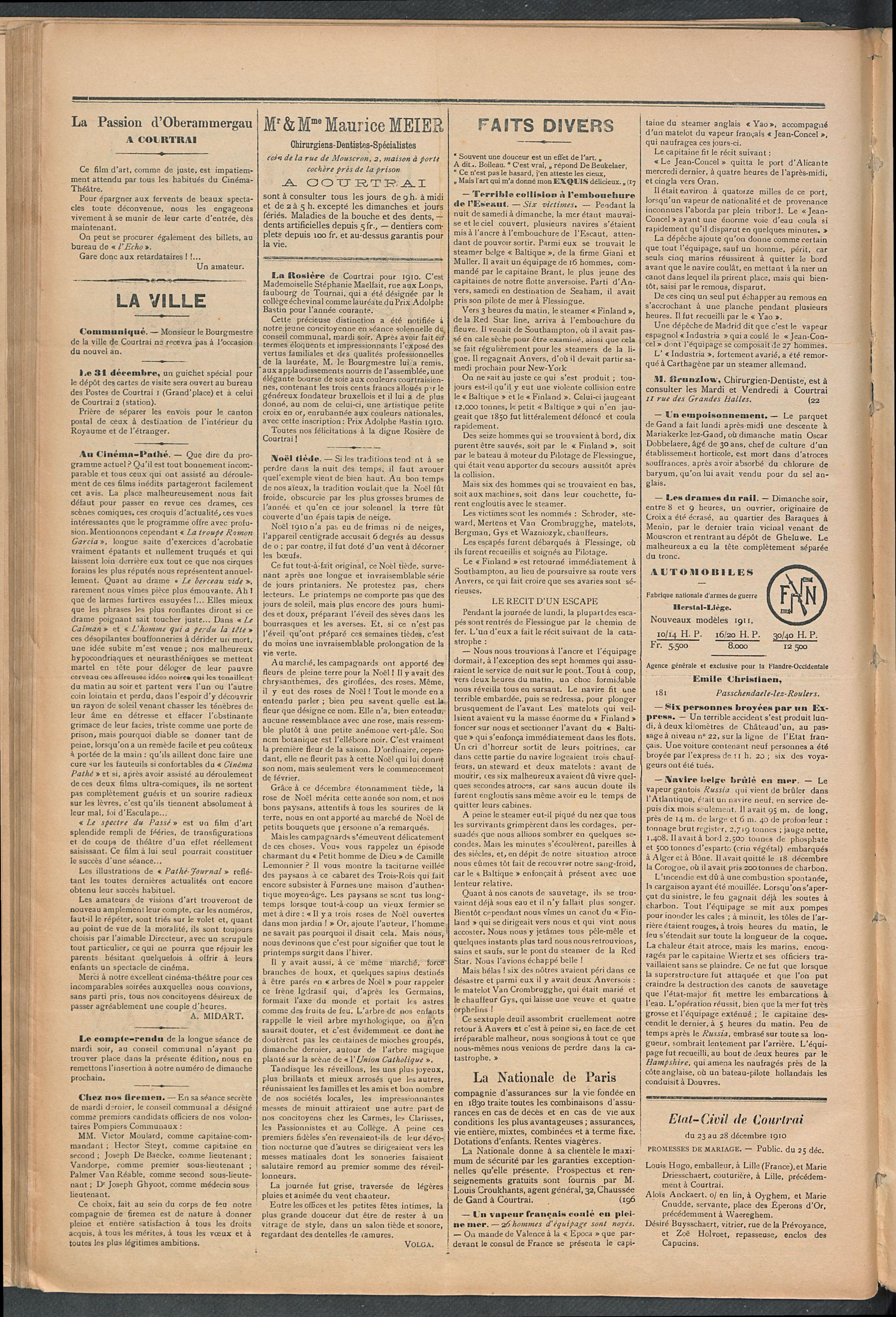 L'echo De Courtrai 1910-12-29 p2