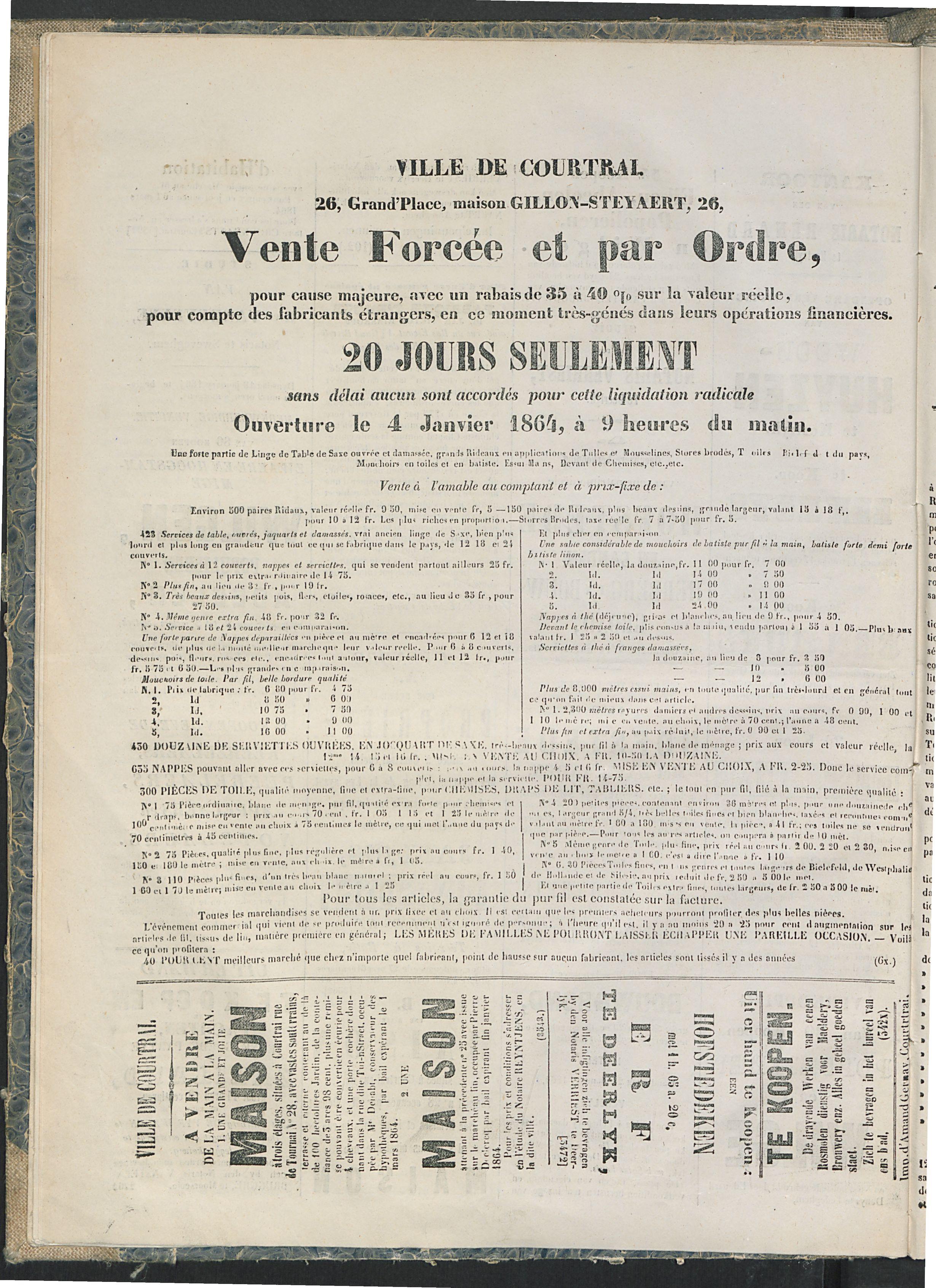 L'echo De Courtrai 1864-01-20 p4