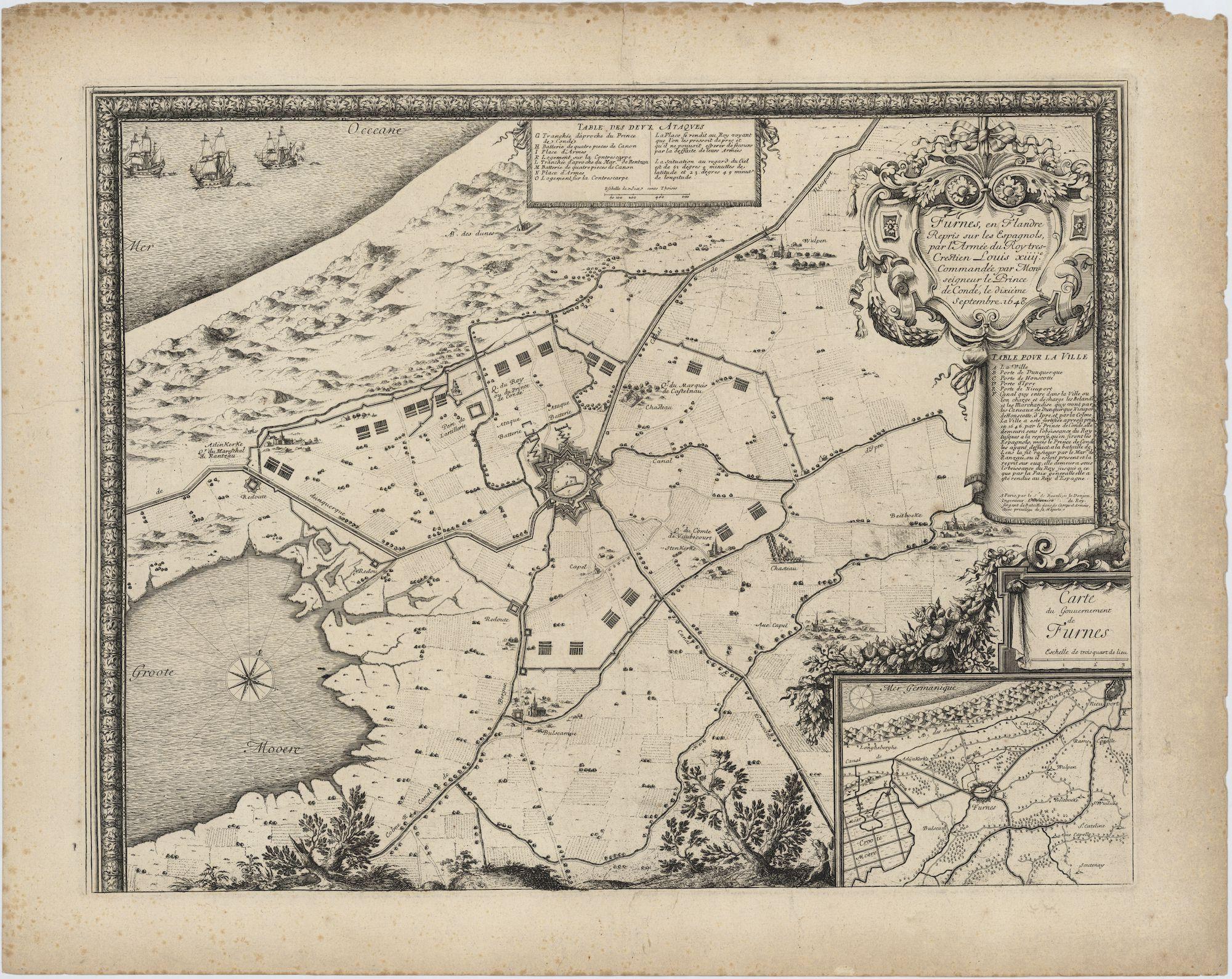 Westflandrica - Veurne, plan van de stad en de omgeving