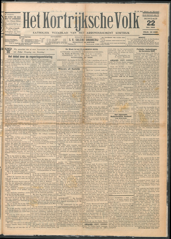 Het Kortrijksche Volk 1929-12-22 p1